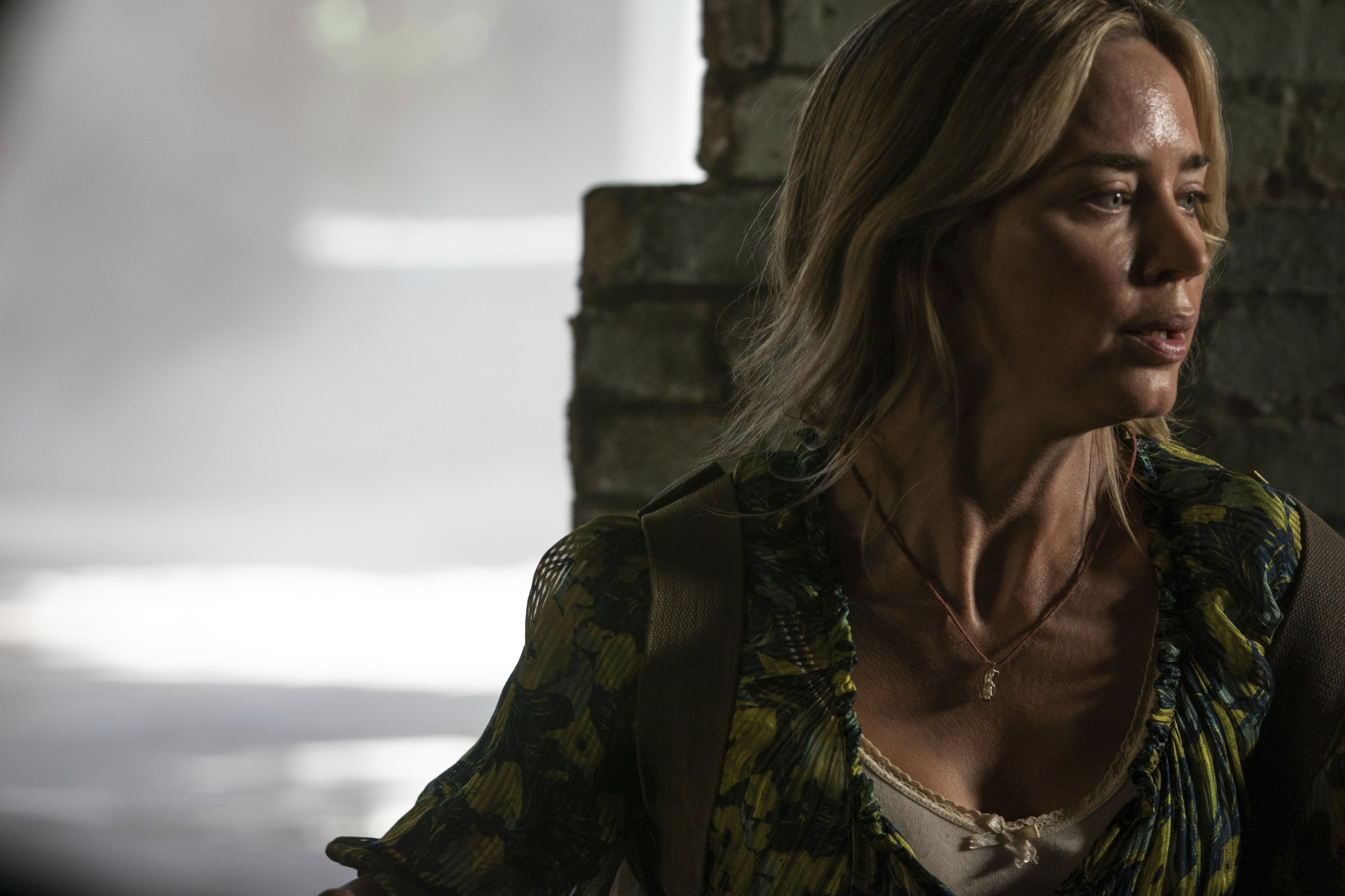 Actress Emily Blunt looks stressed in a scene from'A Quiet Place Part II.' (Paramount Pictures via AP)