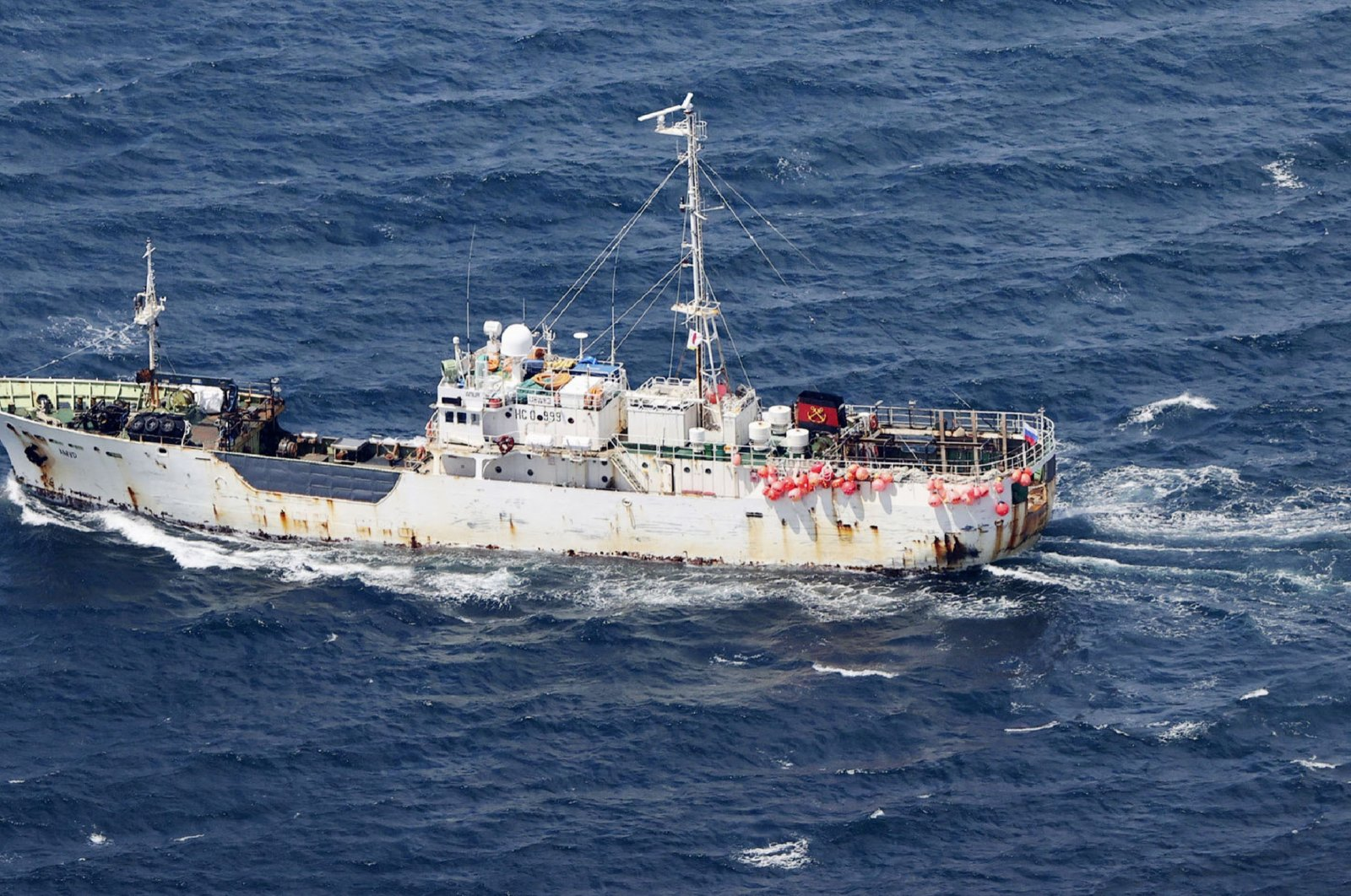 Russian cargo ship AMUR is seen after colliding with Daihachi Hokko Maru, a Japanese crab fishing vessel, in the Sea of Okhotsk, north of Japan's Hokkaido island, Wednesday, May 26, 2021.  (Kyodo News via AP)