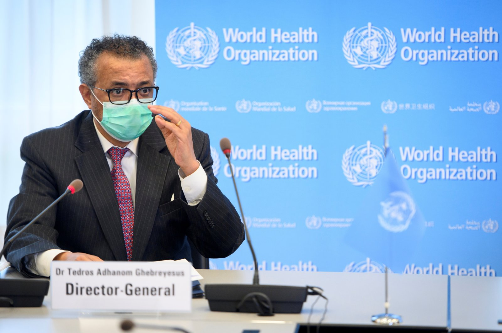 World Health Organization (WHO) Director-General Tedros Adhanom Ghebreyesus speaks during a bilateral meeting on the sidelines of the opening of the 74th World Health Assembly at WHO headquarters, in Geneva, Switzerland, May 24, 2021. (Laurent Gillieron/Pool via REUTERS)