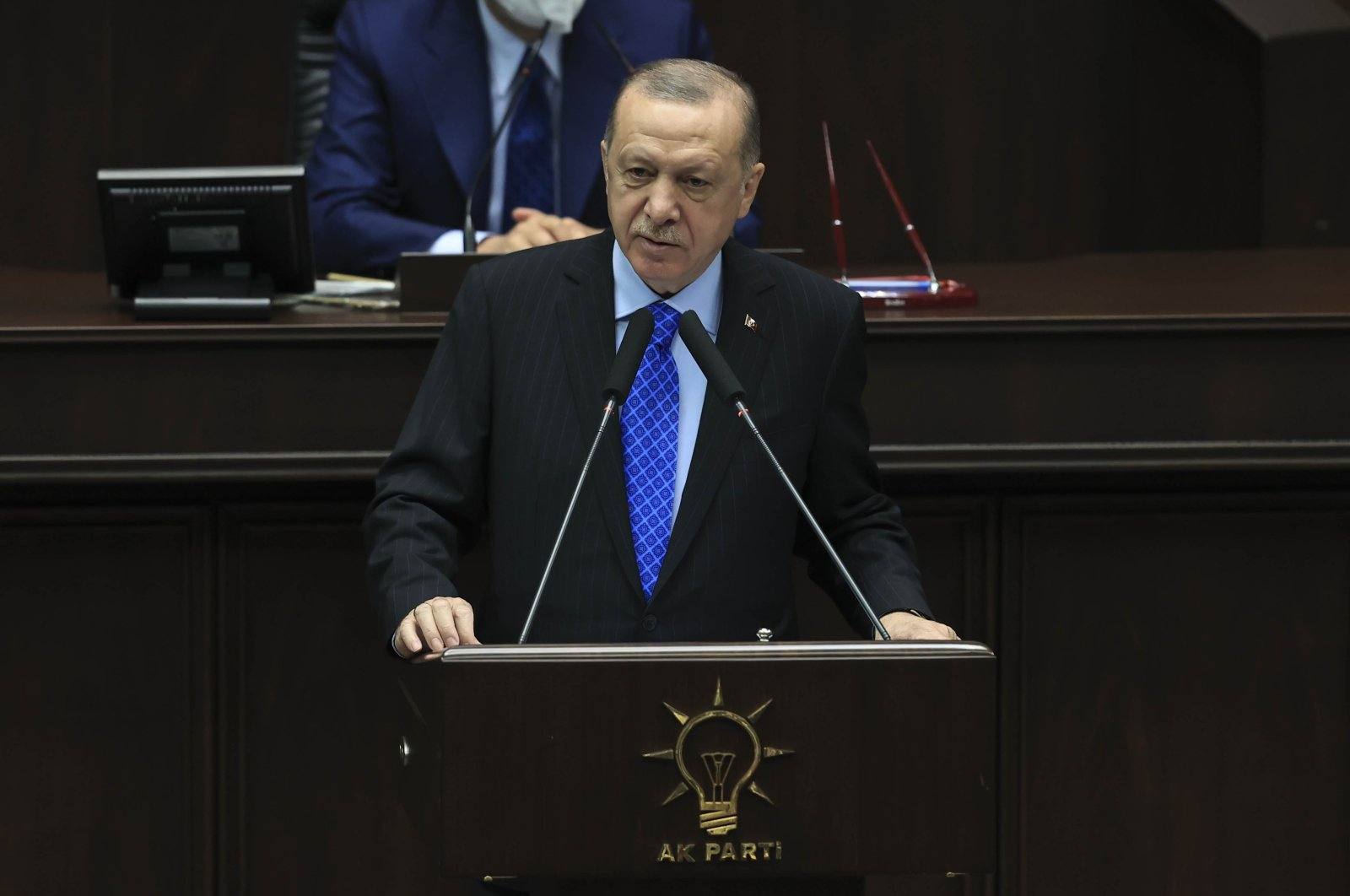 President Recep Tayyip Erdoğan speaks at the ruling Justice and Development Party's (AK Party) parliamentary group meeting at the Turkish Parliament, Ankara, Turkey, May 26, 2021. (AA Photo)