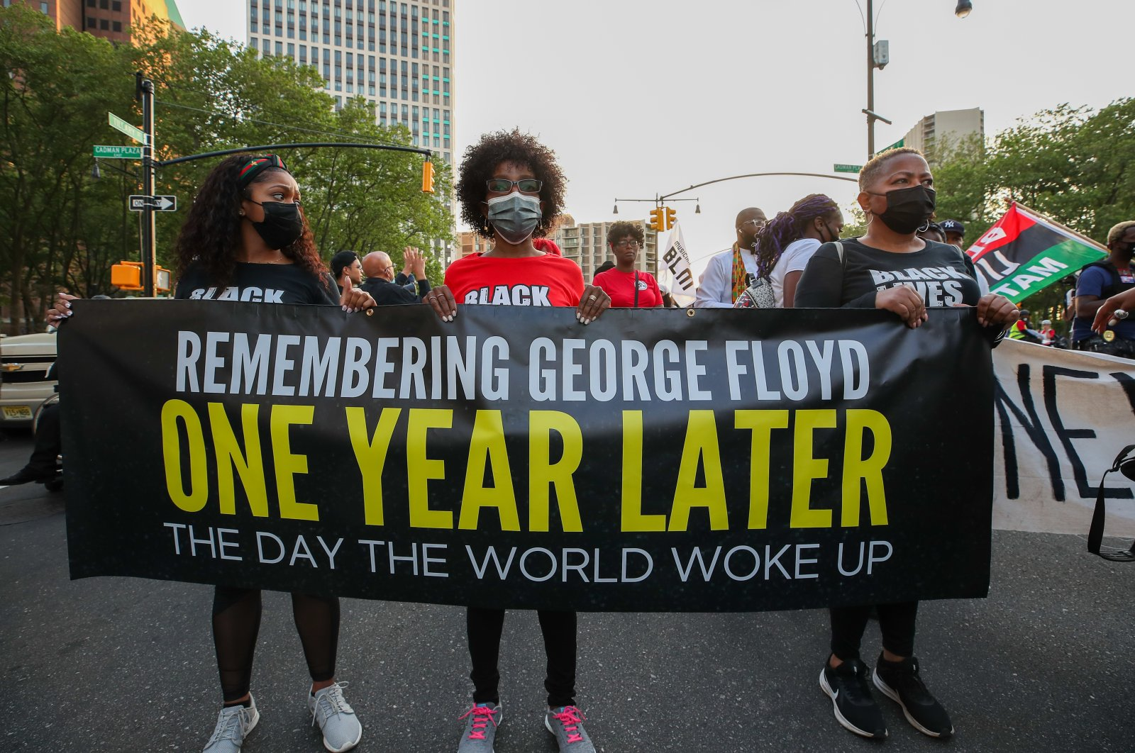 Protesters gather on the one-year anniversary of George Floyd's death, New York, U.S., May 25, 2021. (AA Photo)