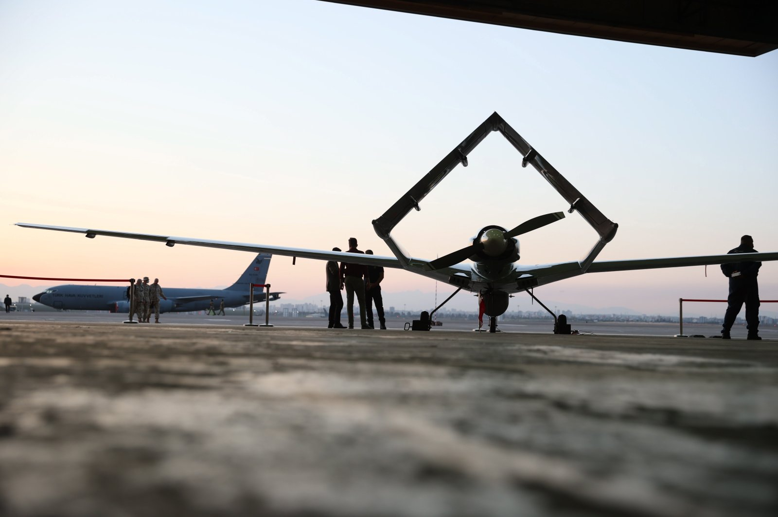 A view of the Bayraktar TB2 combat drones at the İncirlik air base, Adana, southern Turkey, May 25, 2021. (EPA Photo)