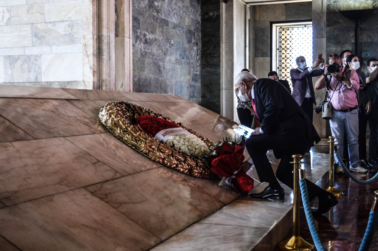 Kemal Kılıçdaroğlu, the chairperson of the main opposition Republican People's Party (CHP), lays a bouquet of flower at Anıtkabir, the mausoleum of modern Turkey's founder Mustafa Kemal Atatürk, on the commemoration of Atatürk, Youth and Sports Day in Ankara, Turkey, May 19, 2021. (Photo by Getty Images)