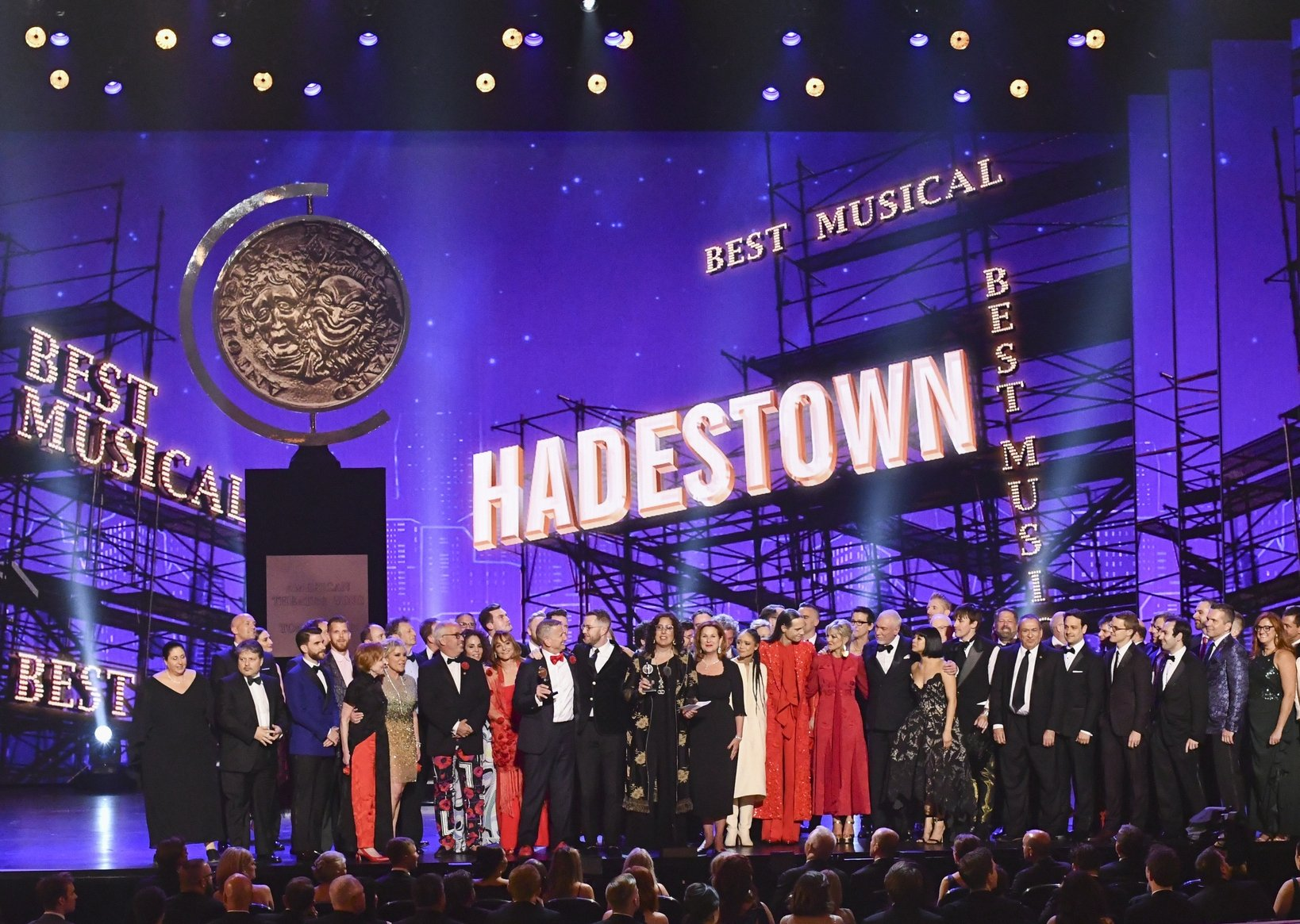 The company of 'Hadestown,' accepts the award for best musical at the 73rd annual Tony Awards at Radio City Music Hall, New York, U.S., June 9, 2019. (AP Photo)