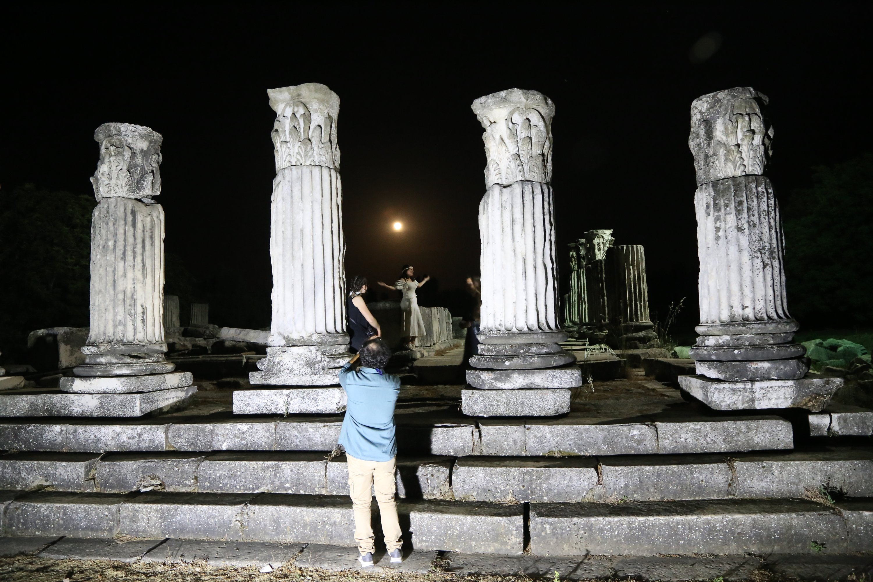 A view from the shooting of the documentary at the Sanctuary of Hecate in Lagina, Muğla, southwestern Turkey, May 27, 2021. (AA Photo)