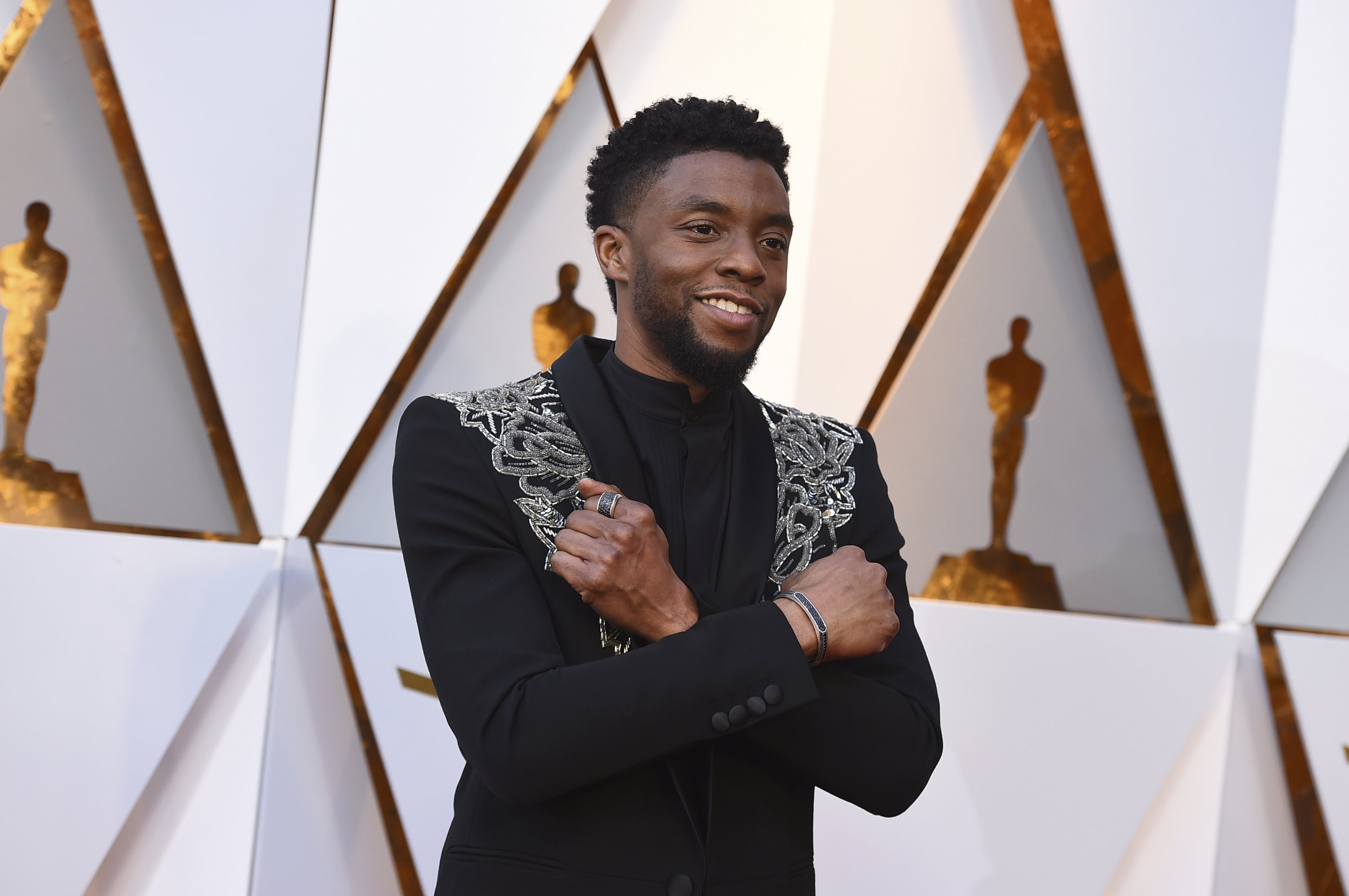Chadwick Boseman arrives at the Oscars at the Dolby Theater in Los Angeles, U.S., March 4, 2018. (AP Photo)