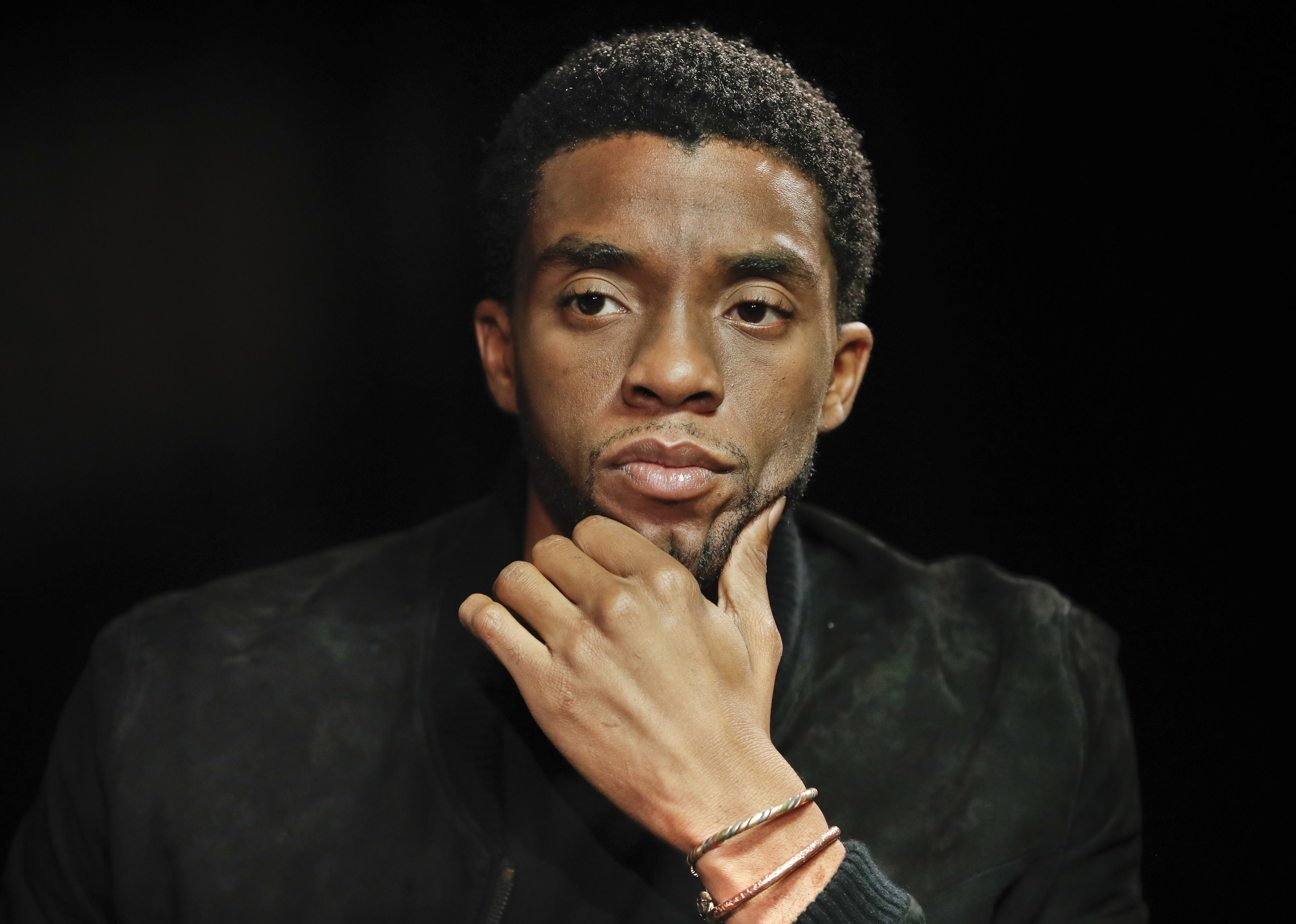 Actor Chadwick Boseman appears at an interview for the film 'Marshall,' in Washington, U.S., Sept. 21, 2017. (AP Photo)