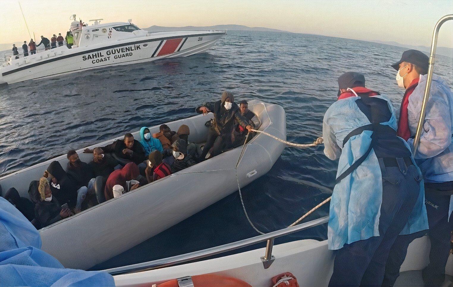 The Turkish coast guard rescues 23 asylum seekers pushed back by Greece near Izmir's Dikili district, Turkey, May 27, 2021. (AA Photo)