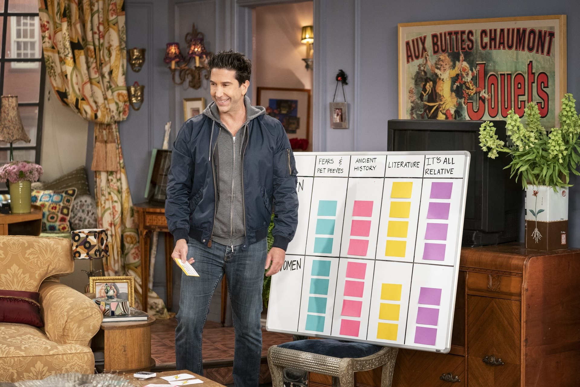 David Schwimmer reenacts the popular quiz scenefrom the television series 'Friends' during the reunion special. (HBO Max via AP)