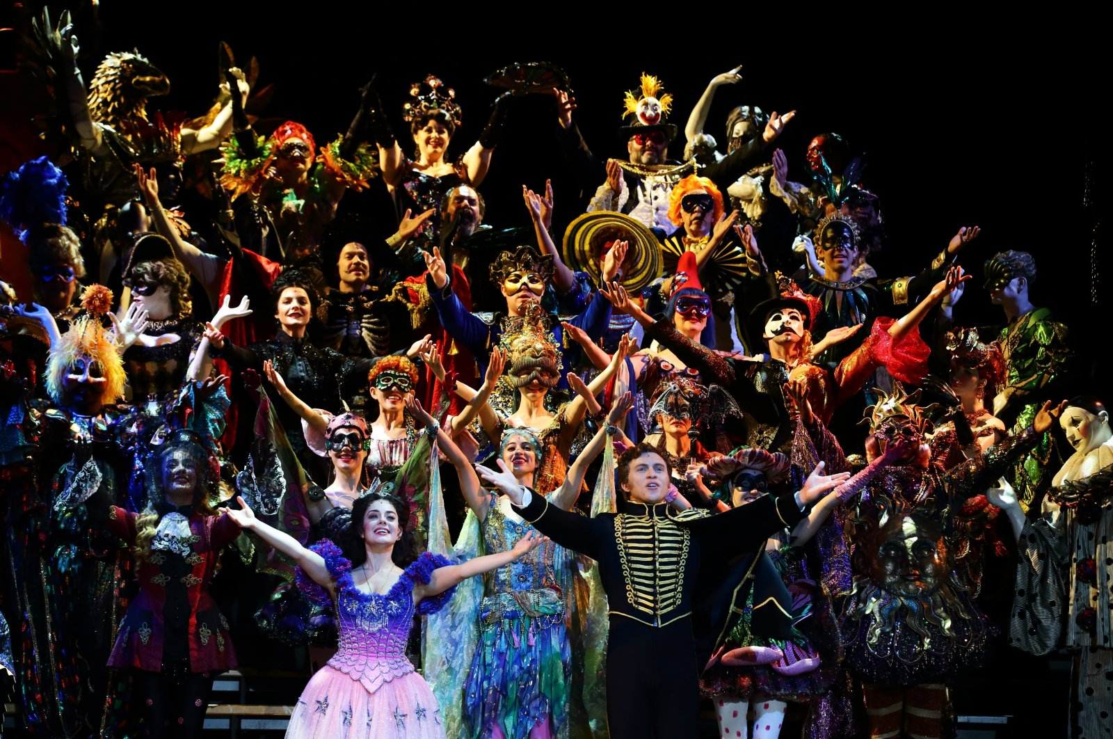 """Cast members for """"The Phantom Of The Opera"""" perform on stage during a media preview at the Sands Theatre at Marina Bay Sands, Singapore, April 25, 2019.  (Getty Images)"""