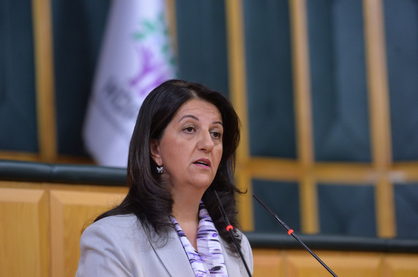 HDP co-Chairperson Pervin Buldan speaks at her party's parliamentary group meeting in Ankara, Oct. 2, 2018. (Sabah File Photo)