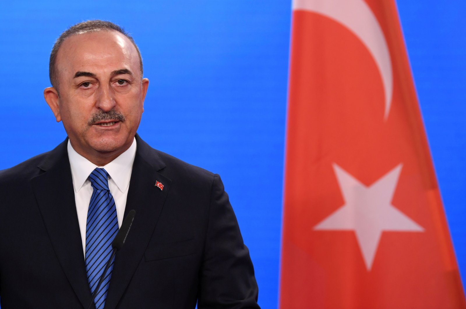 Turkish Foreign Minister Mevlüt Çavuşoğlu gives a statement to the media following a meeting with German Foreign Minister Heiko Maas at the foreign ministry in Berlin, Germany May 6, 2021. (Reuters File Photo)