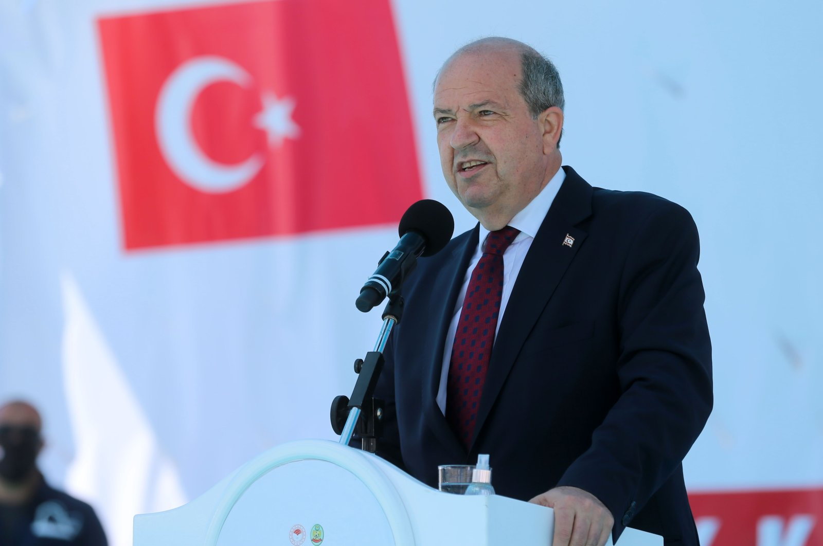 Turkish Cypriot President Ersin Tatar speaks at an event in Turkish Republic of Northern Cyprus' (TRNC) Güzelyurt, May 22, 2021 (AA Photo)