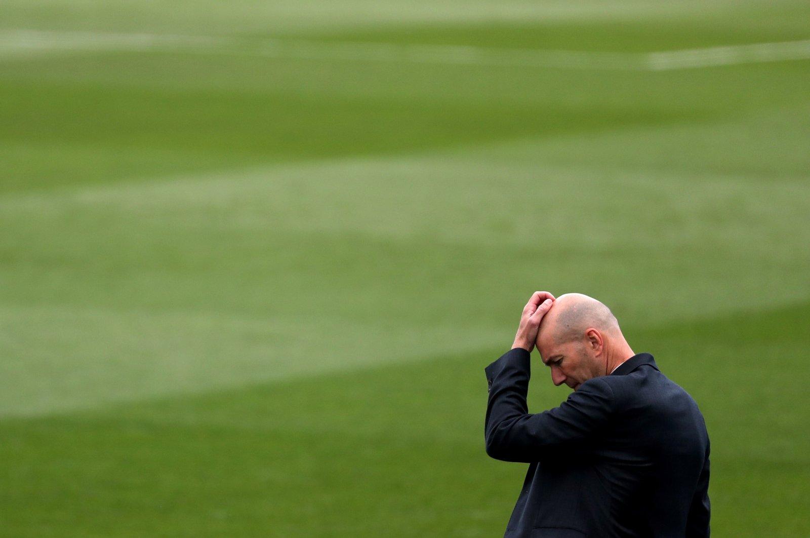 Real Madrid coach Zinedine Zidane during a La Liga match against Villarreal at Estadio Alfredo Di Stefano, Madrid, Spain, May 22, 2021. (Reuters Photo)