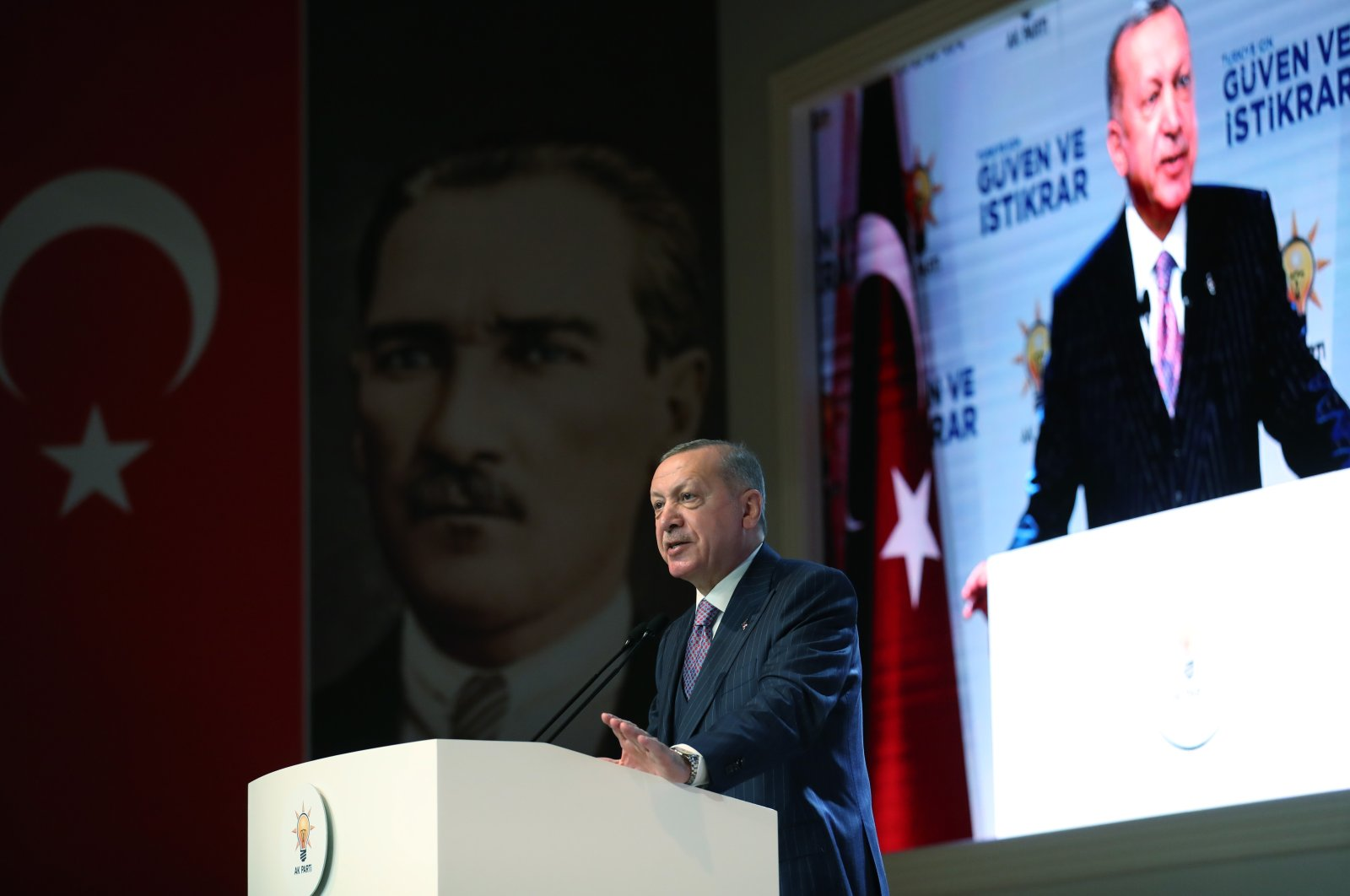 President Recep Tayyip Erdoğan speaks at the Justice and Development Party's (AK Party) extended provincial heads meeting on the Democracy and Freedom Island, Istanbul, May 27, 2021. (AA Photo)