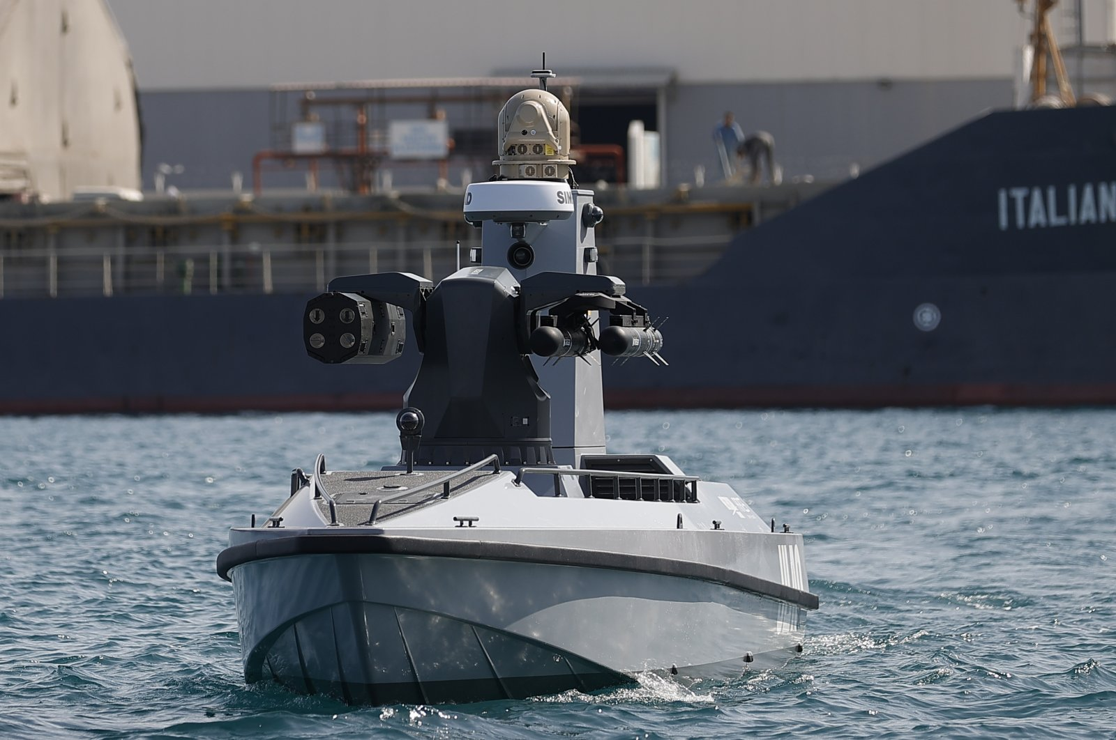The AUSV craft equipped with Roketsan missiles is seen in the Mediterranean Sea off Antalya, southern Turkey, May 8, 2021. (AA Photo)