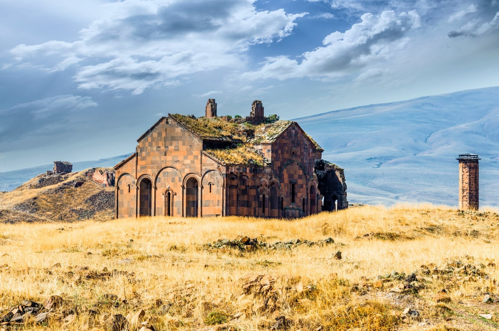 The ruins of the Cathedral of Ani are seen on the Turkish-Armenian border. (Stock Photo)