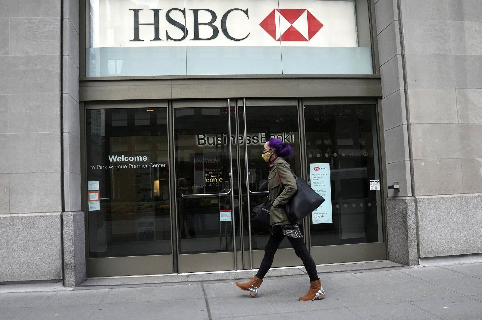 An HSBC bank is pictured during the pandemic in the Manhattan borough of New York City, New York, U.S., Oct. 19, 2020. (Reuters Photo)