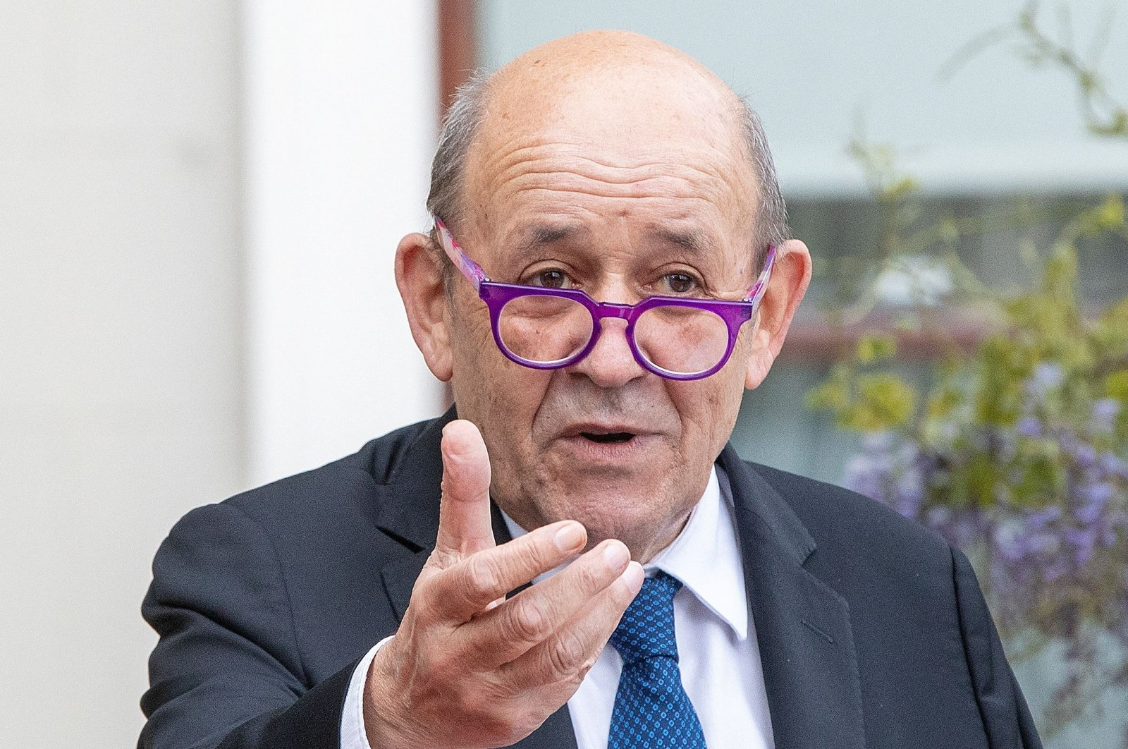 French Minister for Foreign Affairs Jean-Yves Le Drian speaks during a joint press conference with Irish Minister for Foreign Affairs Simon Coveney, at Farmleigh House and Estate in Dublin, Ireland, May 20, 2021. (AFP Photo)