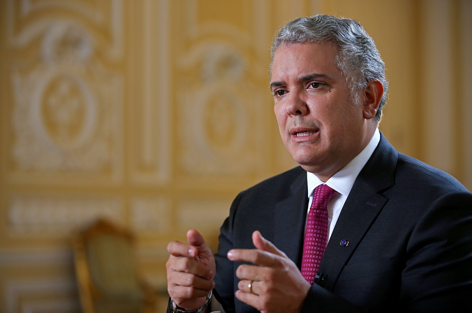 Colombia's President Ivan Duque speaks during an interview with Reuters in Bogota, Colombia, March 12, 2021. (Reuters Photo)