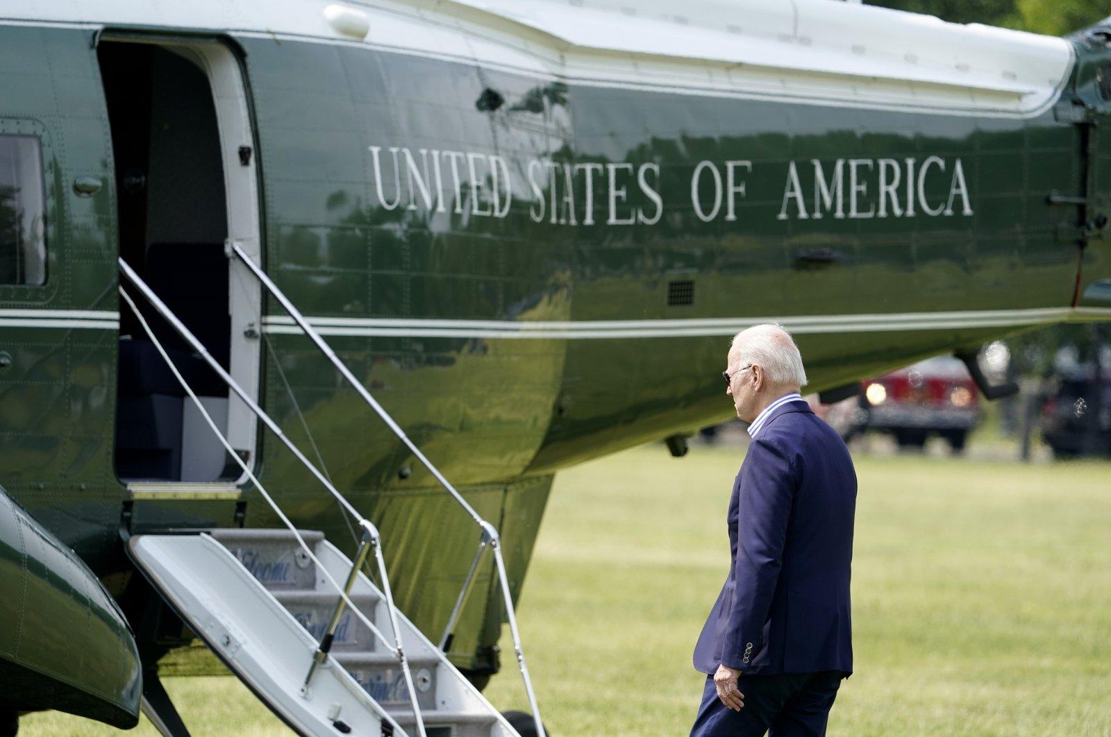 President Joe Biden walks to Marine One upon departure from the Ellipse at the White House, Washington, May 22, 2021. (AP Photo/Alex Brandon)