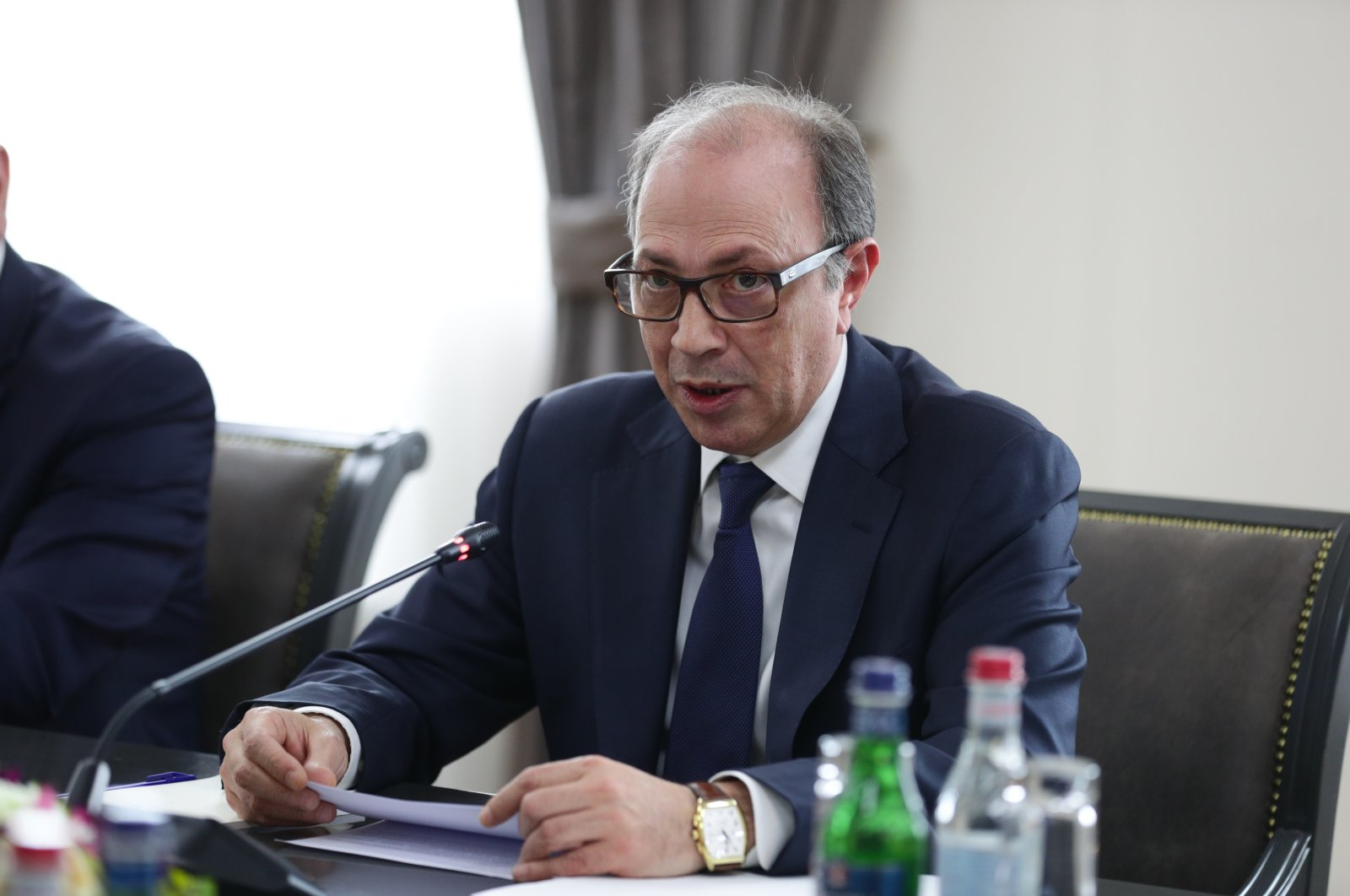 Armenian Foreign Minister Ara Ayvazyan is seen in this photo taken during a meeting with his counterpart Sergey Lavrov in Russia's Moscow on May 6, 2021 (Russian Ministry of Foreign Affairs Media Service via AA - File)