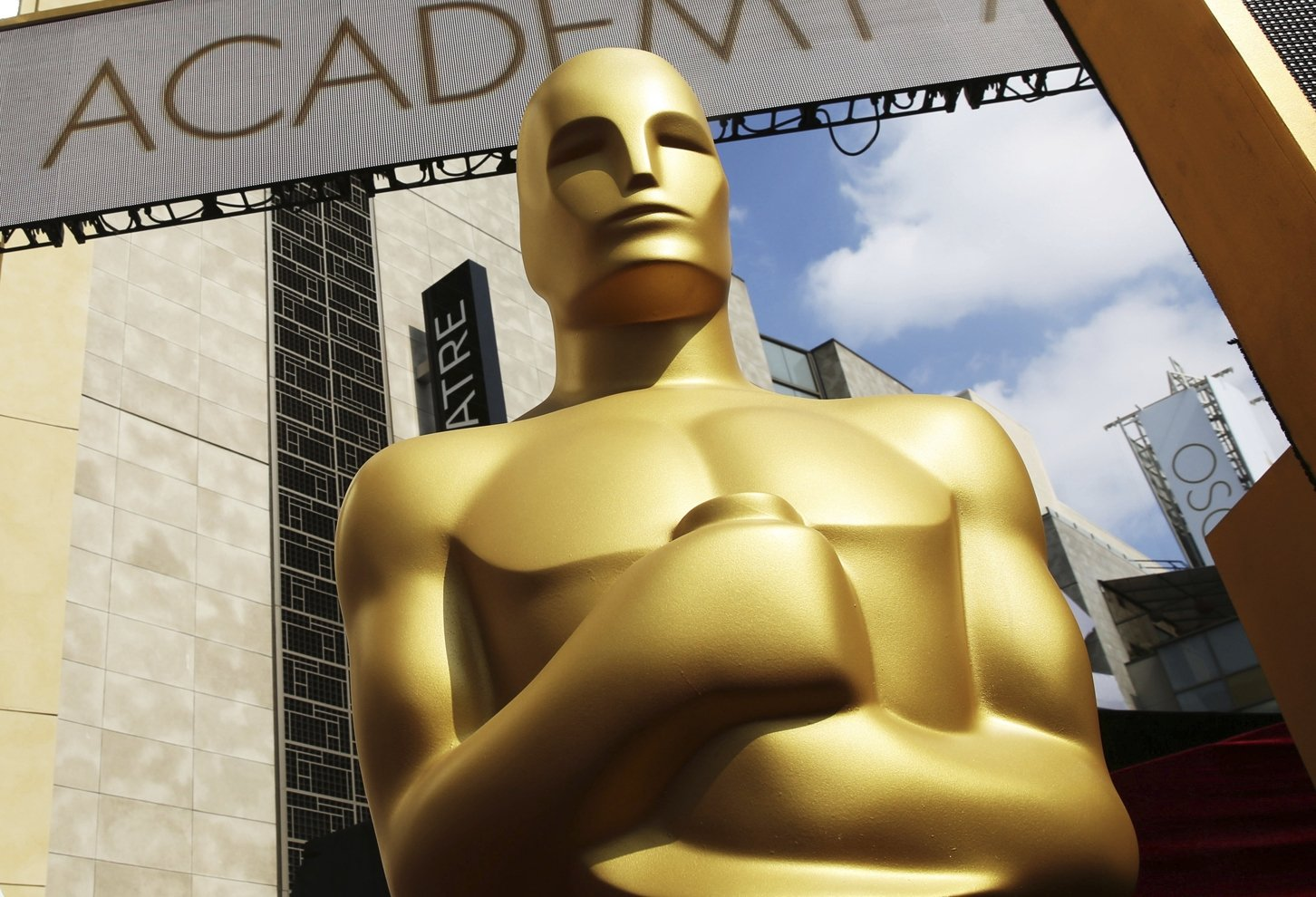 In this file photo, an Oscar statue appears outside the Dolby Theatre for the 87th Academy Awards in Los Angeles U.S., Feb. 21, 2015. (AP Photo)