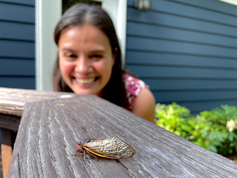 Virginia photographer and cicada enthusiast Oxana Ware poses for a photo in Arlington, Virginia, U.S., May 25, 2021. (REUTERS Photo)