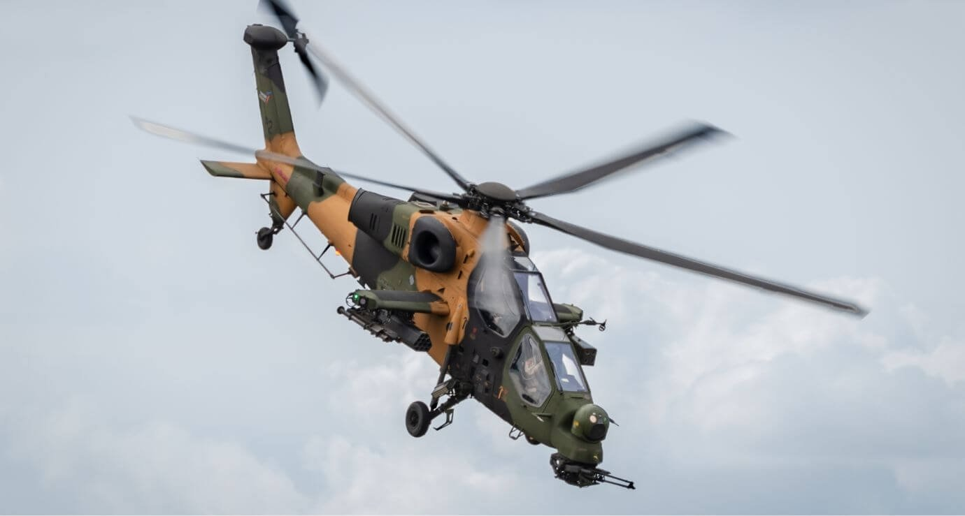 Upgraded with the Aselsan-made IFF system, a T129 chopper maneuvers in this photo provided on May 28, 2021. (Courtesy of TAI)