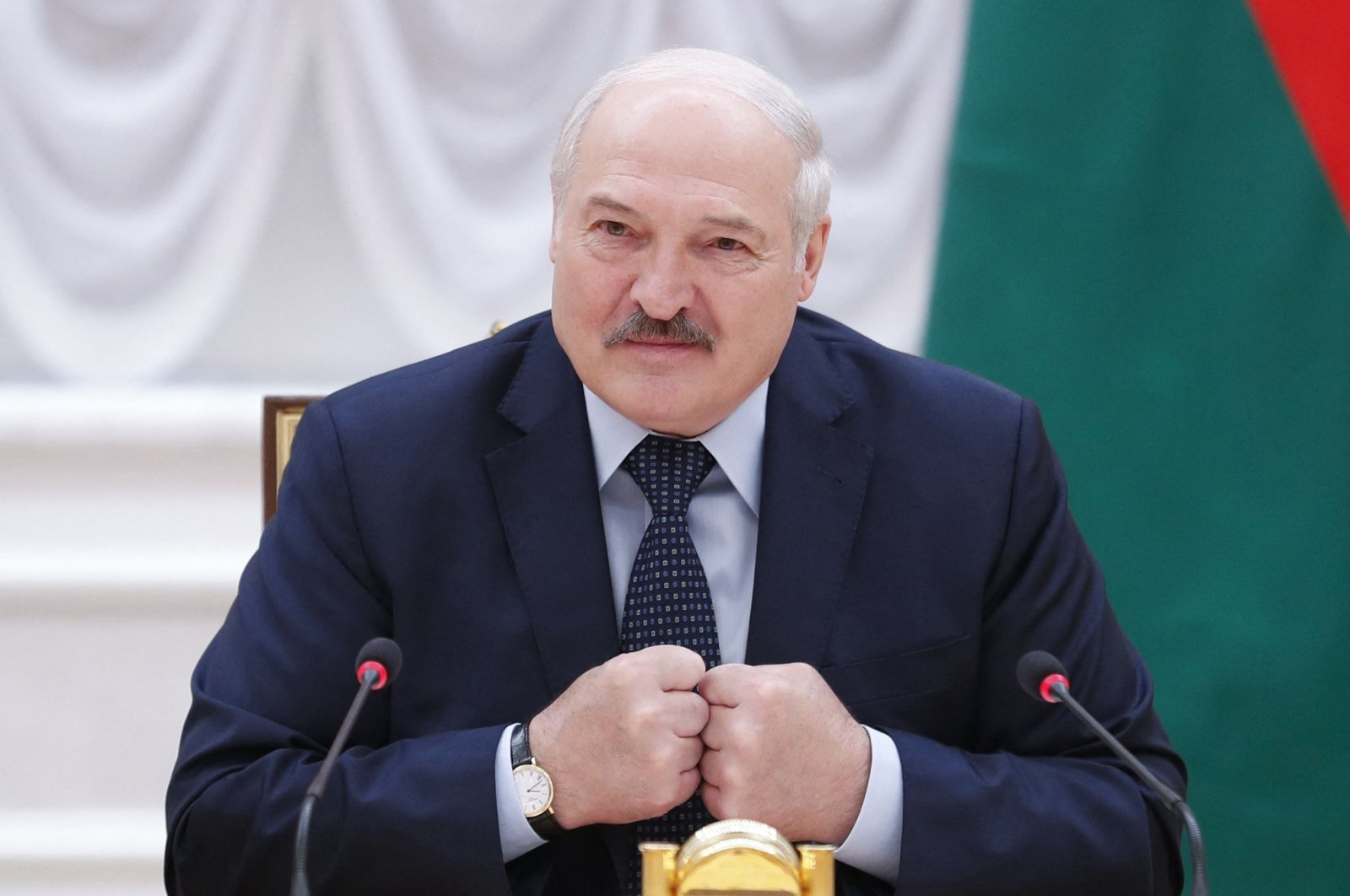 Belarusian President Alexander Lukashenko speaks during a meeting with Commonwealth of Independent States officials in Minsk, Belarus, May 28, 2021. (AFP Photo)