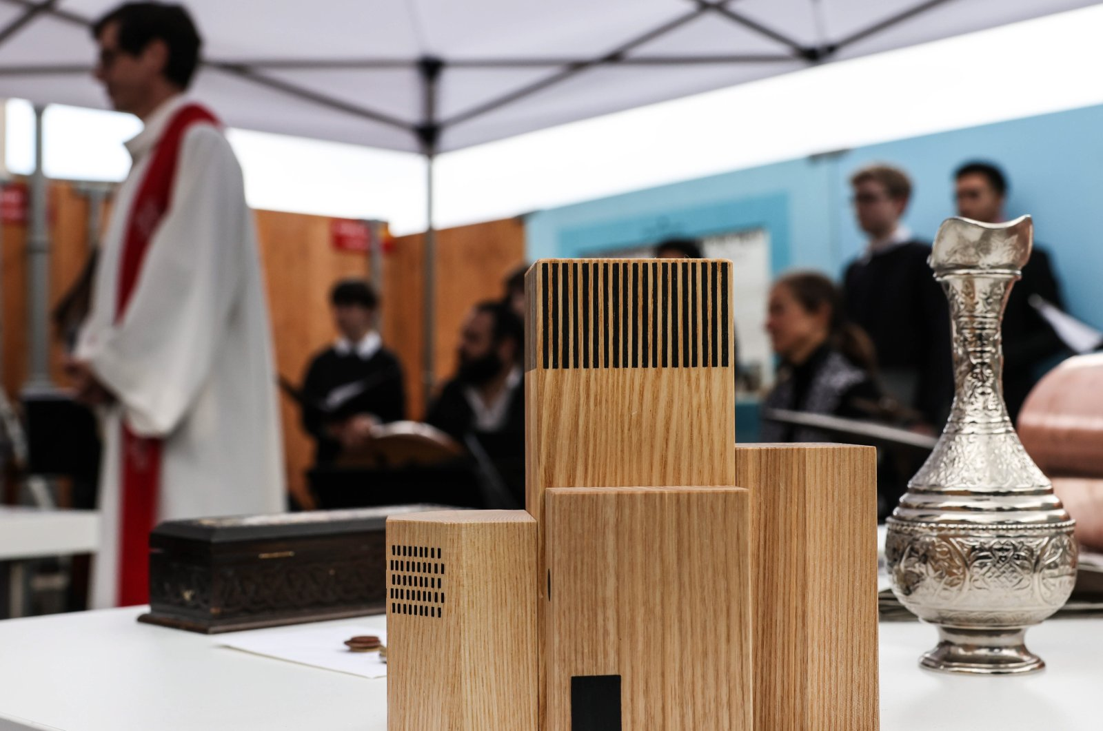 """A view of the wooden model of the multi-religious """"House of One"""" building during its laying of the foundation stone ceremony in Berlin, Germany, May 27, 2021. (EPA Photo)"""