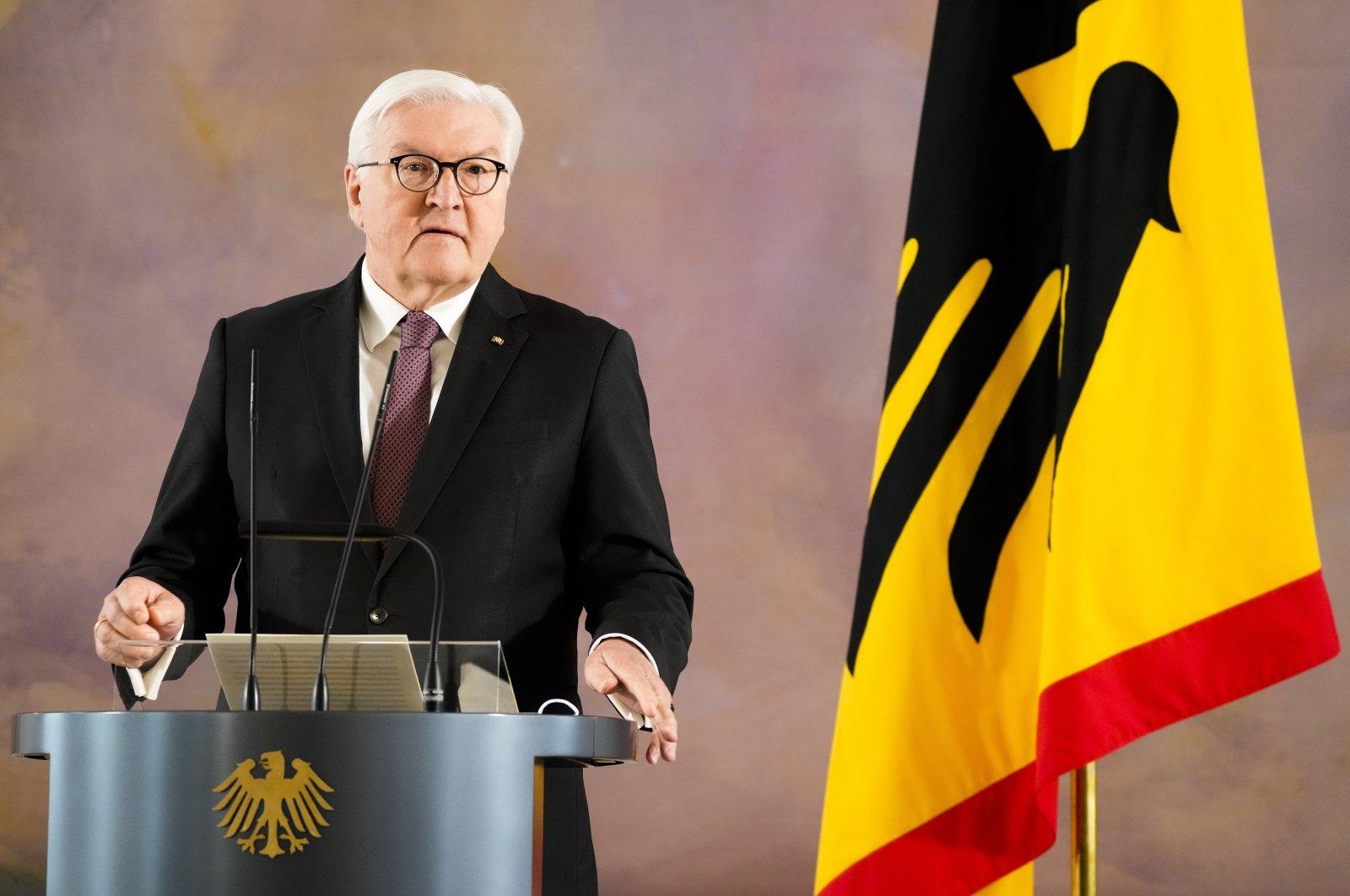 German President Frank-Walter Steinmeier addresses the media at his residence Bellevue Palace in Berlin, Germany, May 28, 2021. (AP Photo)