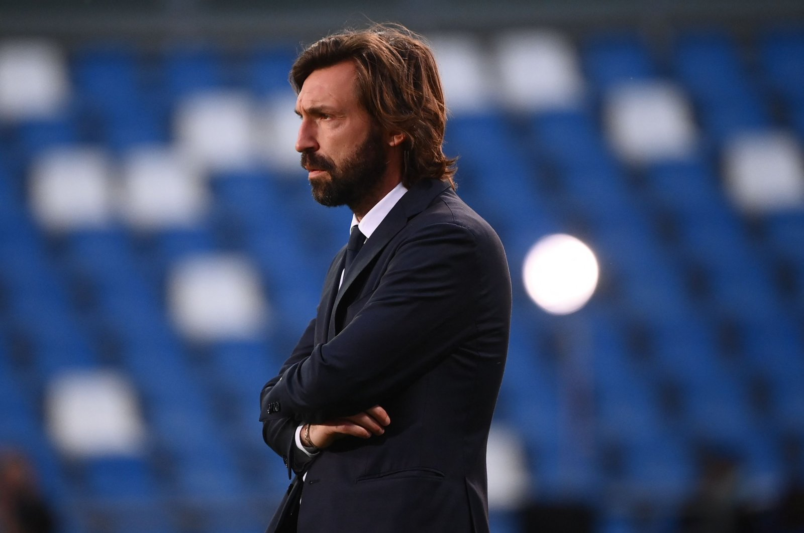 Juventus' Italian coach Andrea Pirlo looks on prior to the Italian Serie A match against Sassuolo at the Mapei-Citta del Tricolore stadium in Reggio Emilia, Italy, May 12, 2021. (AFP Photo)