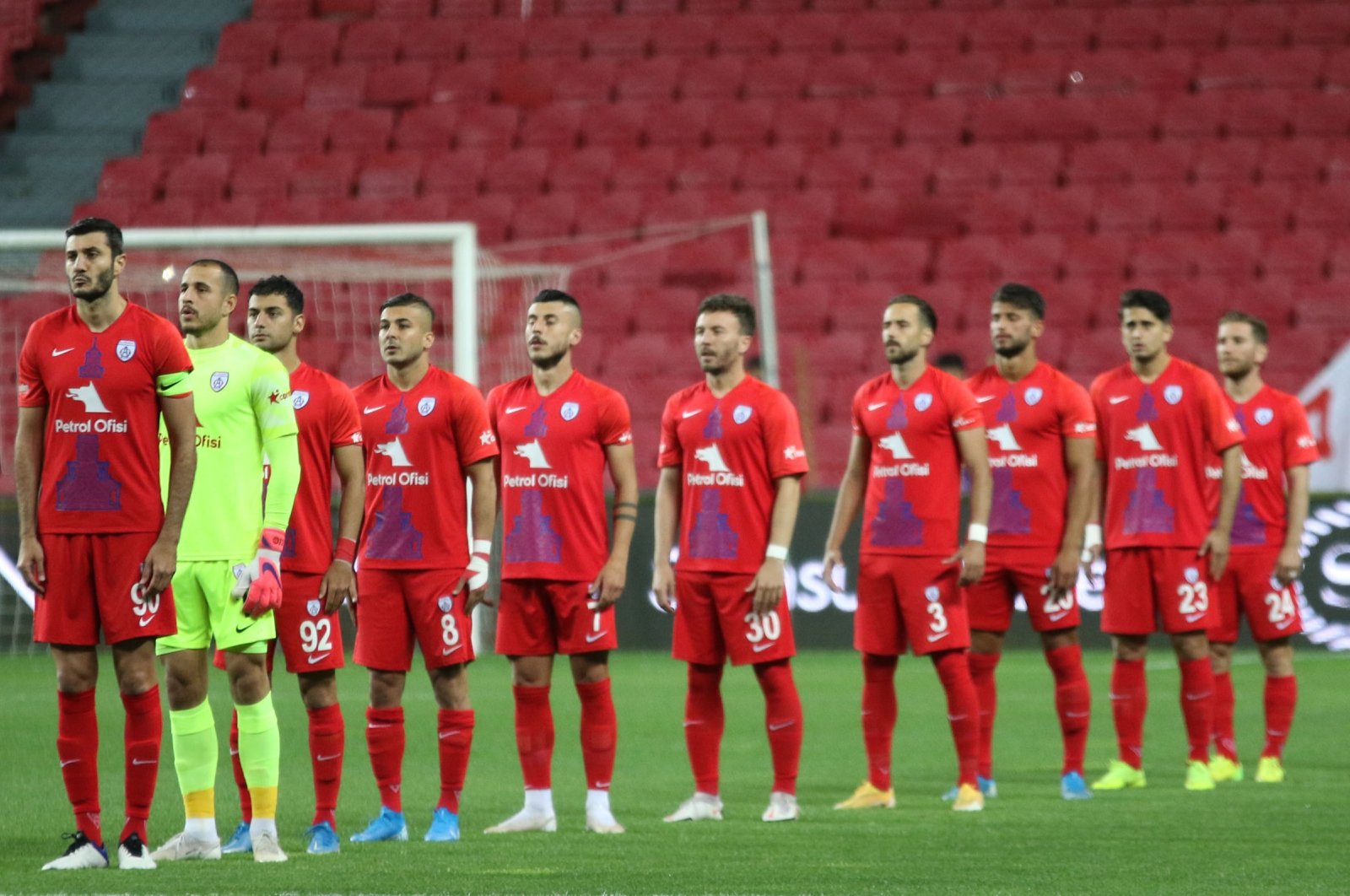 Altınordu players sing the national anthem before a match in Samsun, Turkey, May 22, 2021. (DHA Photo)