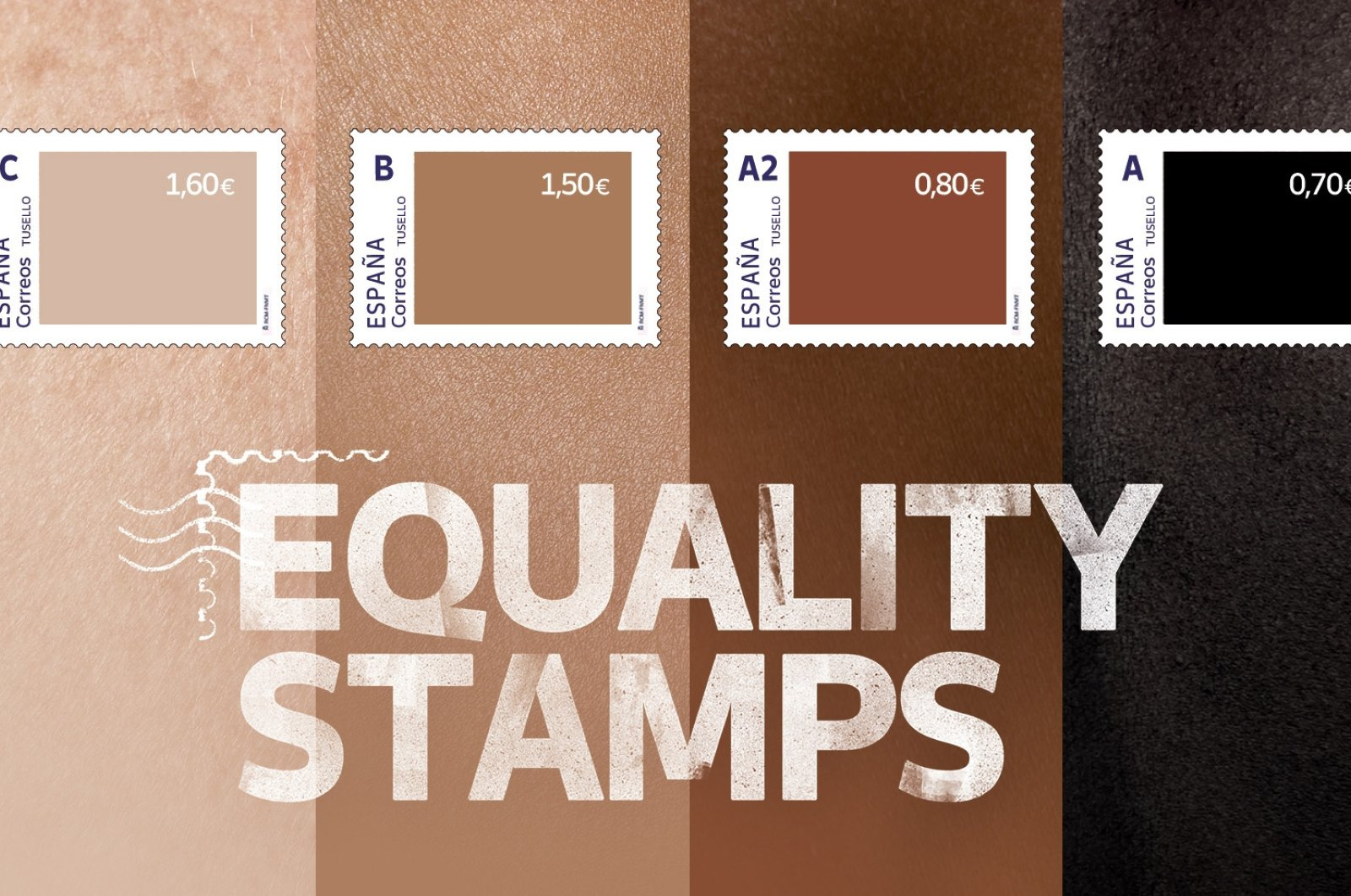 A poster of the well-intentioned but badly thought out campaign by Spain's postal service shows a set of four stamps to signify different skin-colored tones. The darker the stamp, the lower the price, Friday, May 28, 2021. (Correos via AP)