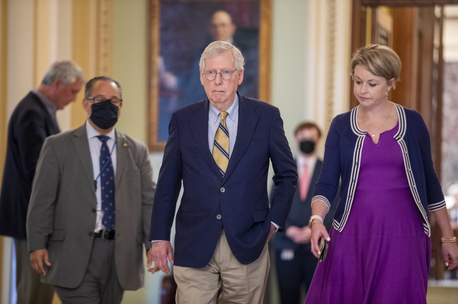 Senate Minority Leader Mitch McConnell walks to his office following a procedural vote to stall the Jan. 6 commission in the U.S. Capitol, Washington, D.C., May 28, 2021. (EPA Photo)