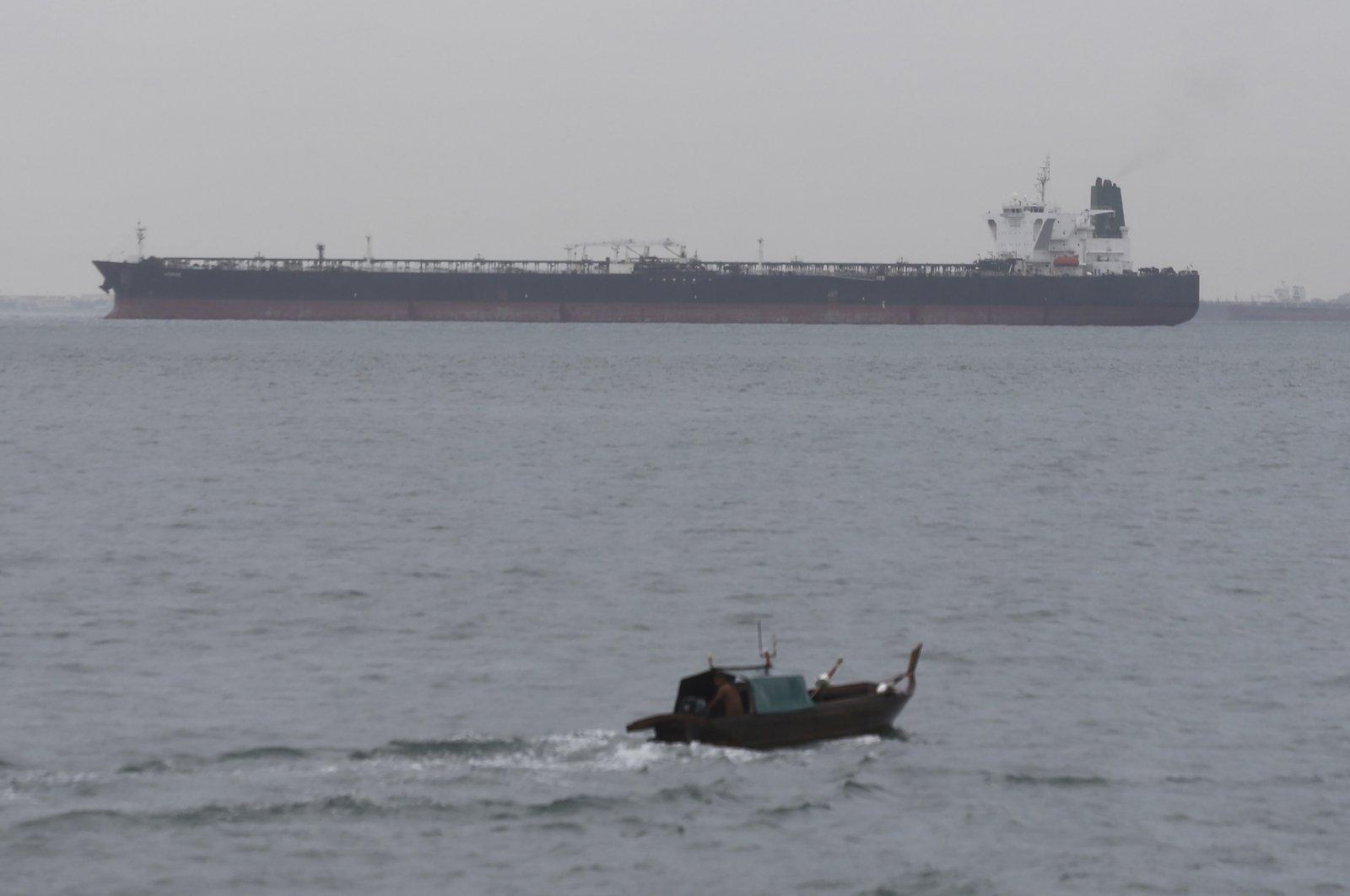 The Iranian-flagged MT Horse tanker sits anchored off Batam Island, Indonesia, Jan. 28, 2021. (AP Photo)