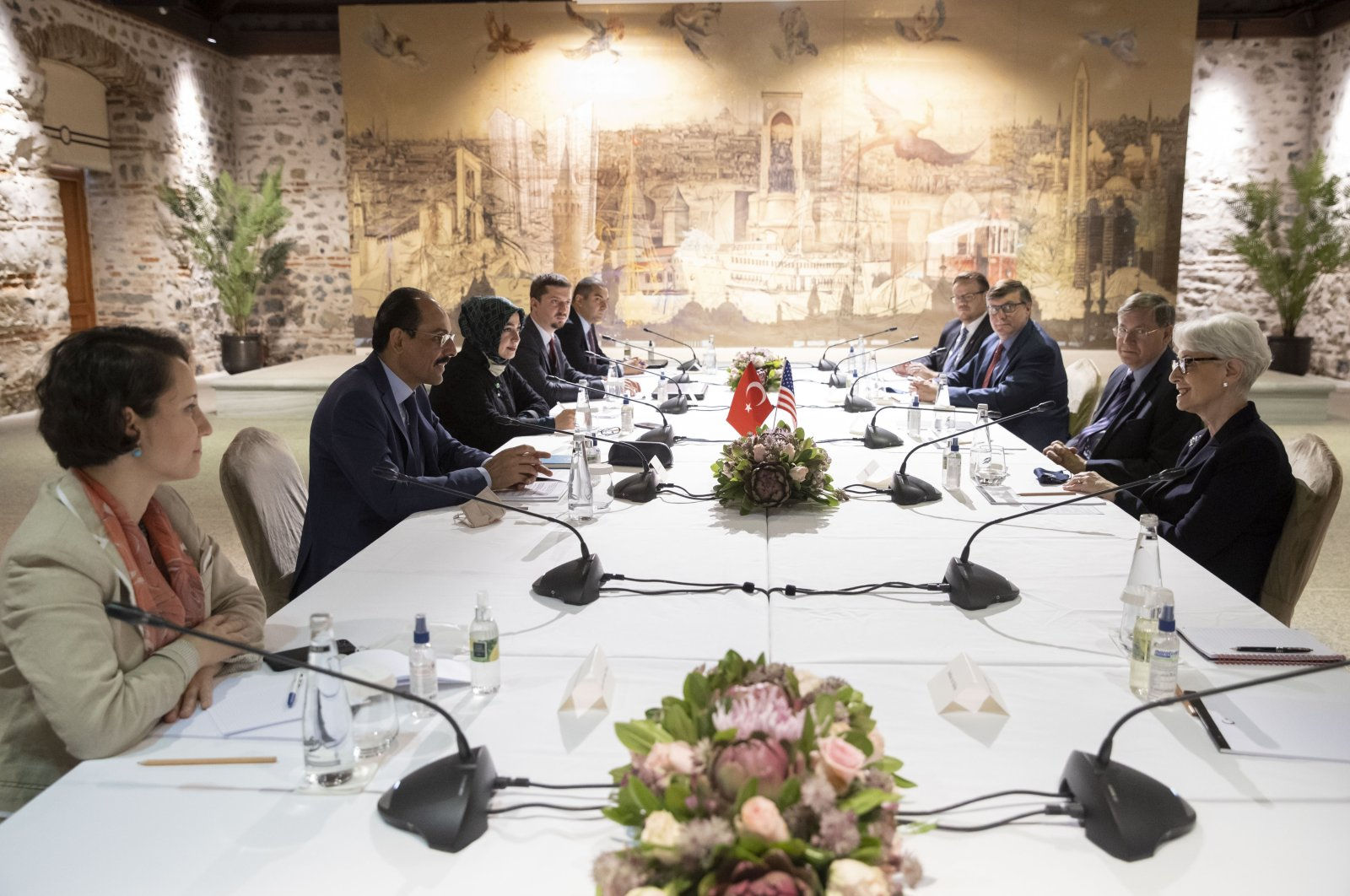 Turkey's Presidential Spokesperson Ibrahim Kalın (2nd L) and his delegation sit across from U.S. Deputy Secretary of State Wendy Sherman (R) with her delegation at Dolmabahçe Palace, Istanbul, Turkey, May 29, 2021. (DHA Photo)