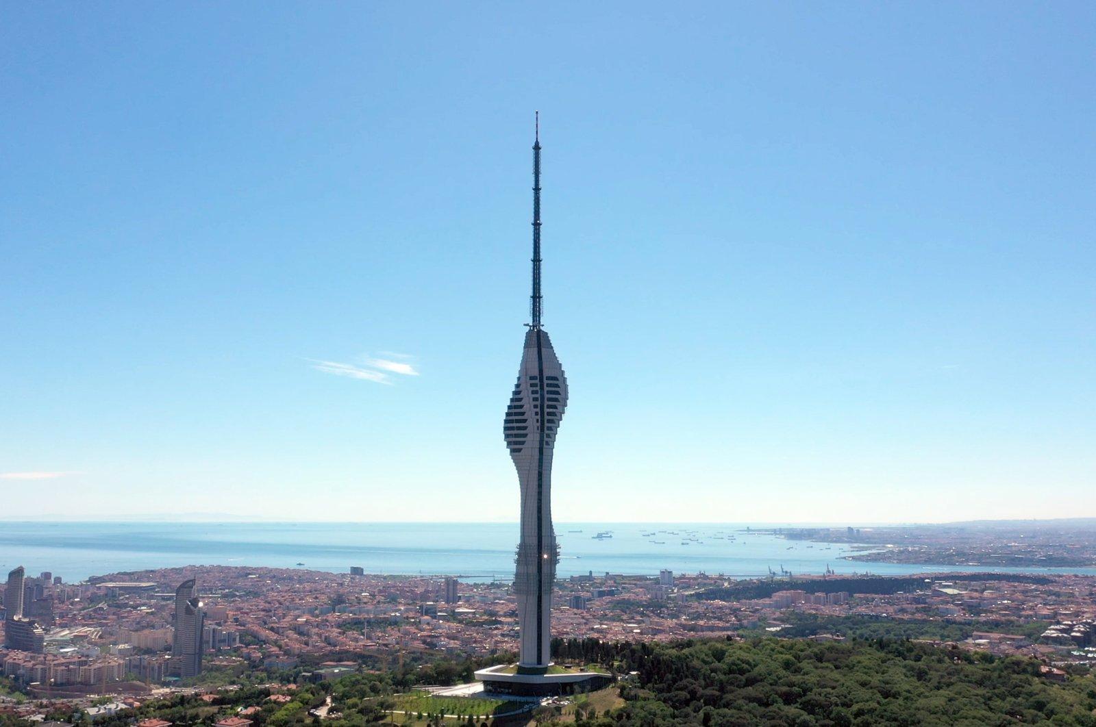 The Çamlıca Tower extends to the sky, in Üsküdar district, Istanbul, Turkey, May 29, 2021. (AA Photo)