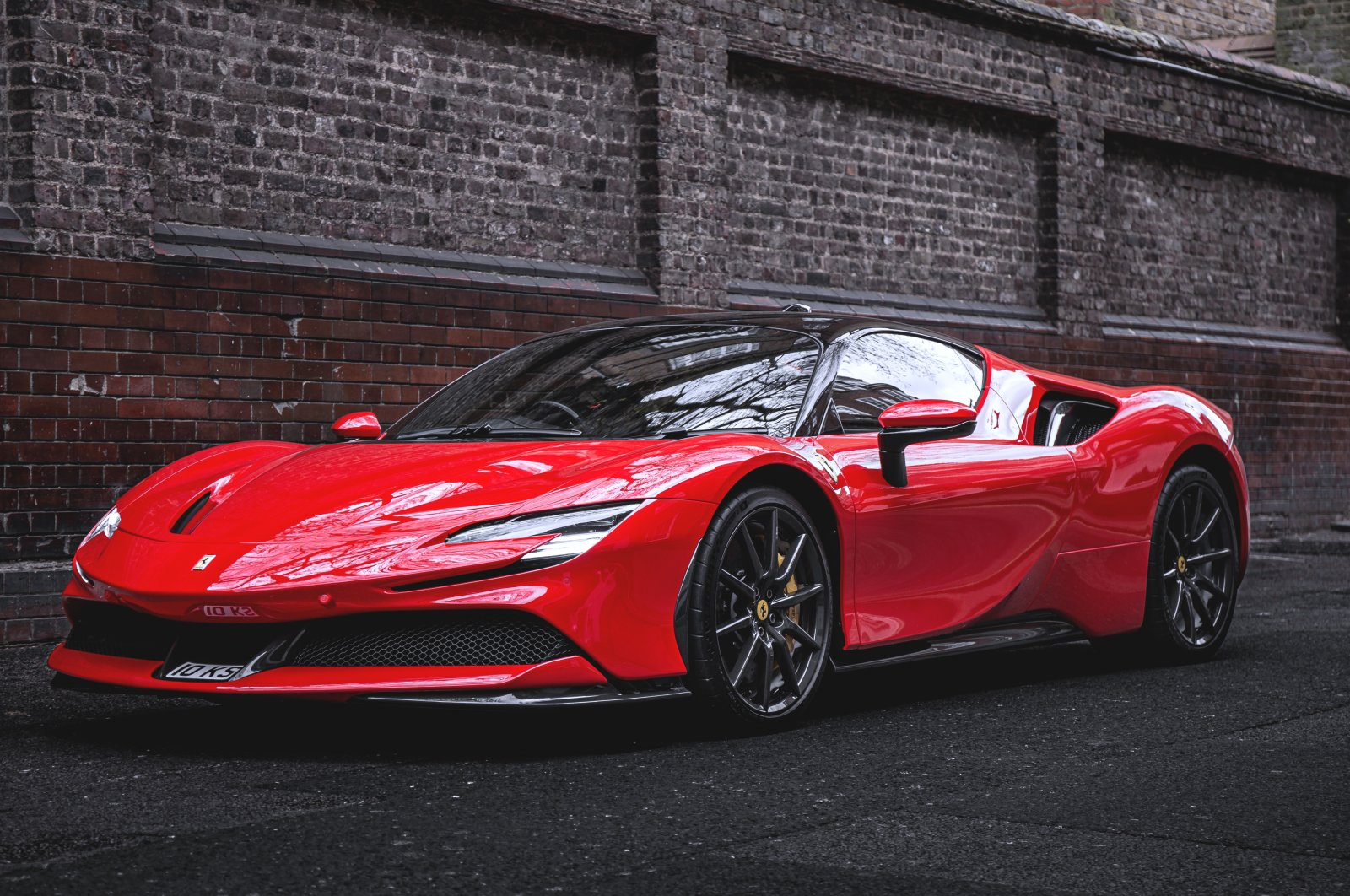 The Ferrari SF90 Stradale is parked in Mayfair, London, Britain, April 14, 2021. (Getty Images)