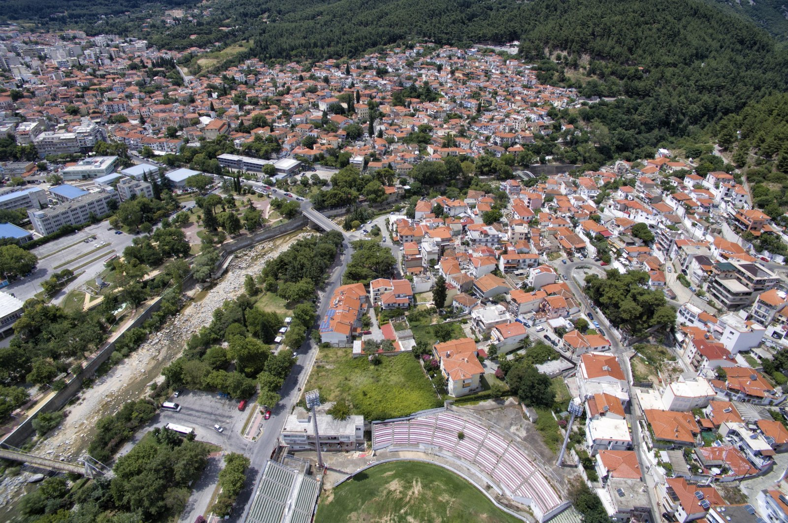 A drone image of the town of Xanthi (İskeçe) in Western Thrace, northeastern Greece, October 19, 2017. (Getty Images)