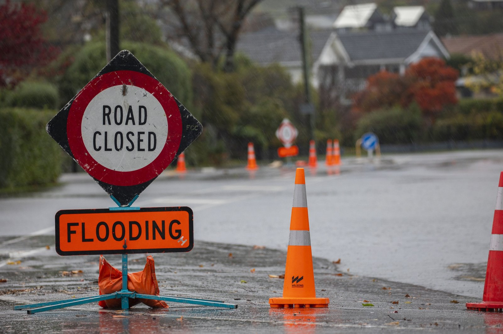A road closed sign warns drivers of a flooded road in Christchurch, NewZealand, May 30, 2021.(Getty Images)