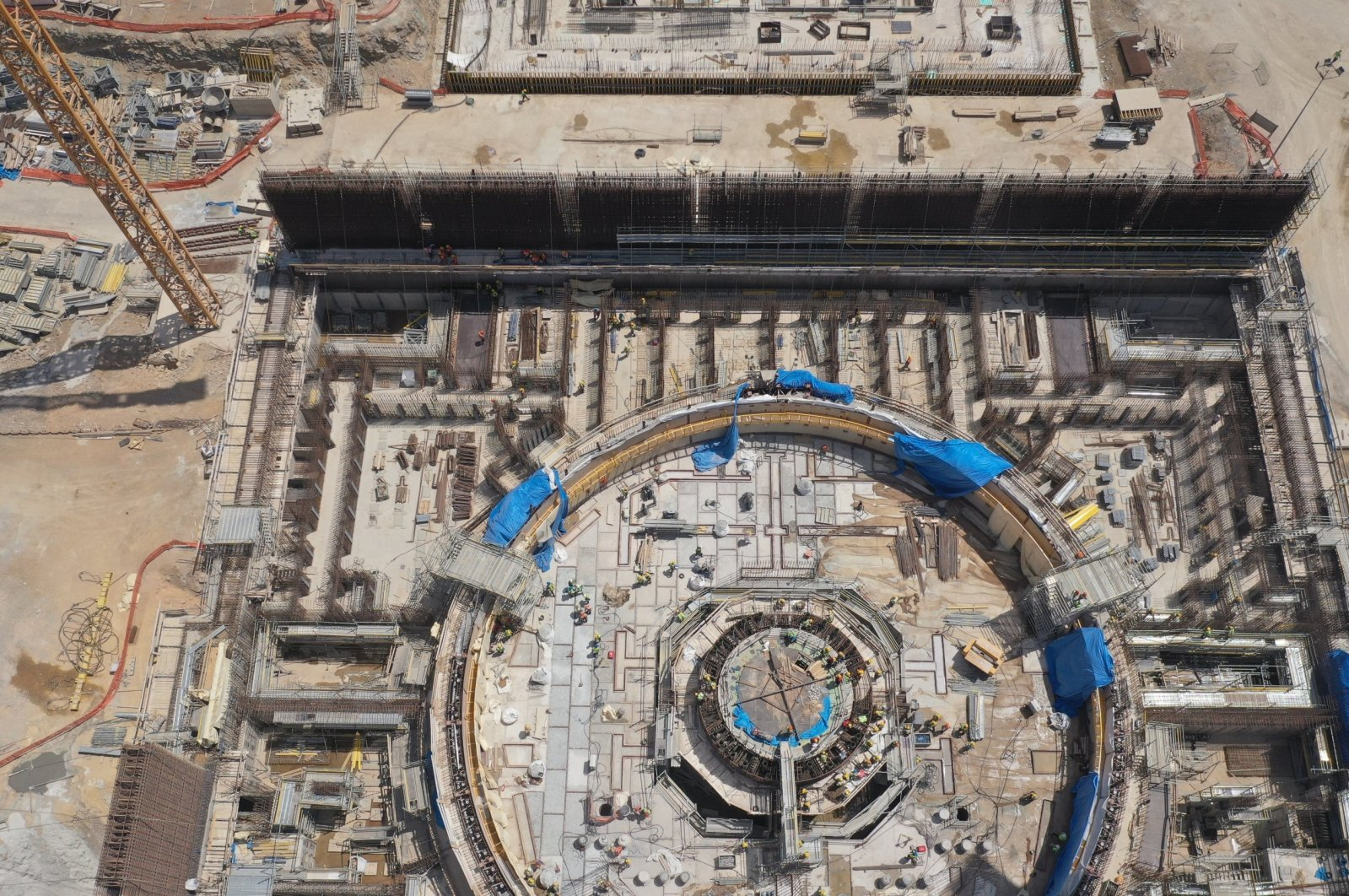 An aerial view showing the construction site of the Akkuyu NPP, Mersin, southern Turkey, June 26, 2020. (Energy and Natural Resources Ministry via AA)