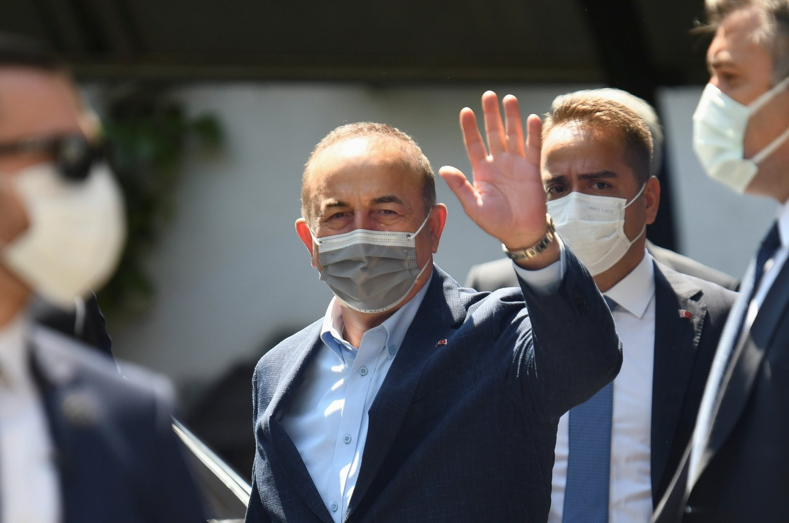 Turkish Foreign Minister Mevlüt Çavuşoğlu gestures during his visit at the Turkish Consulate in Komotini (Gümülcine), Greece, May 30, 2021. (REUTERS Photo)