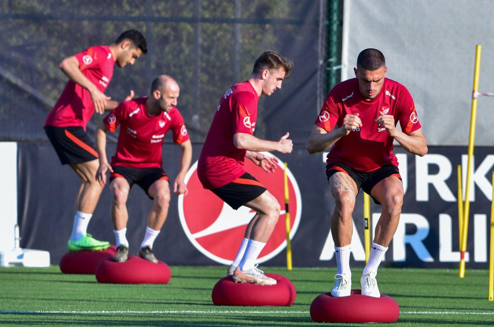 Turkish national football team players train ahead of their friendly match against Guinea, Antalya, western Turkey, May 29, 2021. (DHA Photo)