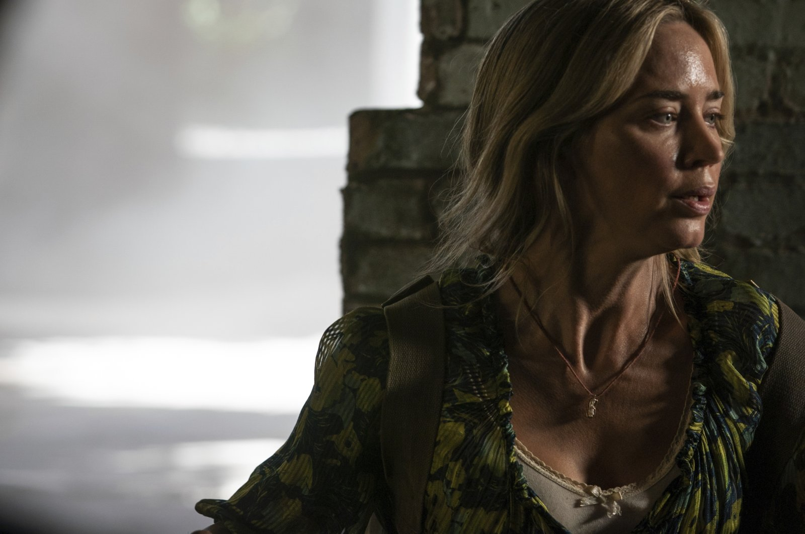 """Actress Emily Blunt looks stressed in a scene from """"A Quiet Place Part II."""" (Paramount Pictures via AP)"""