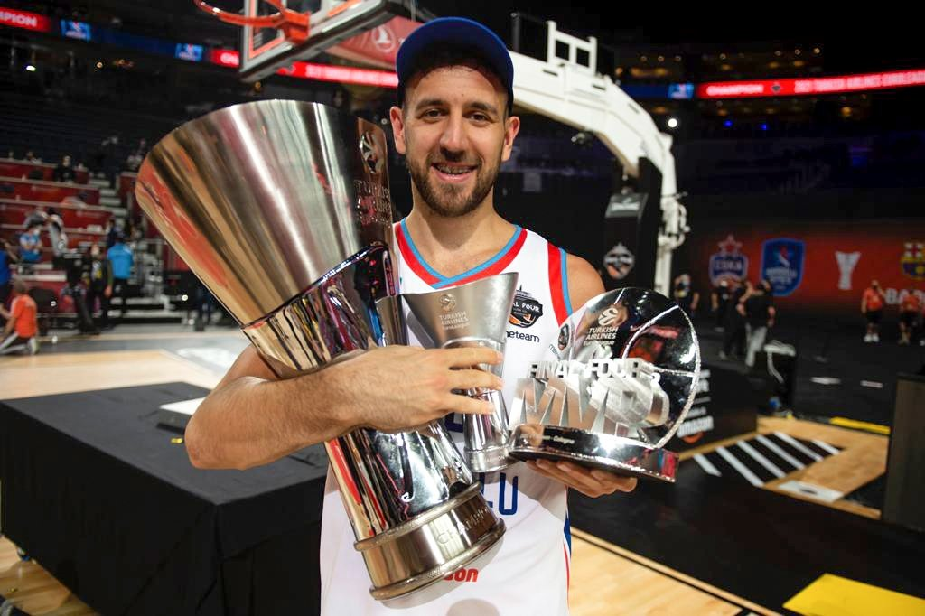 Final Four most valuable players Anadolu Efes' Vasilije Micic poses with the THY EuroLeague and MVP trophy at Lanxess Arena, Cologne, Germany, May 30, 2021. (AA Photo)