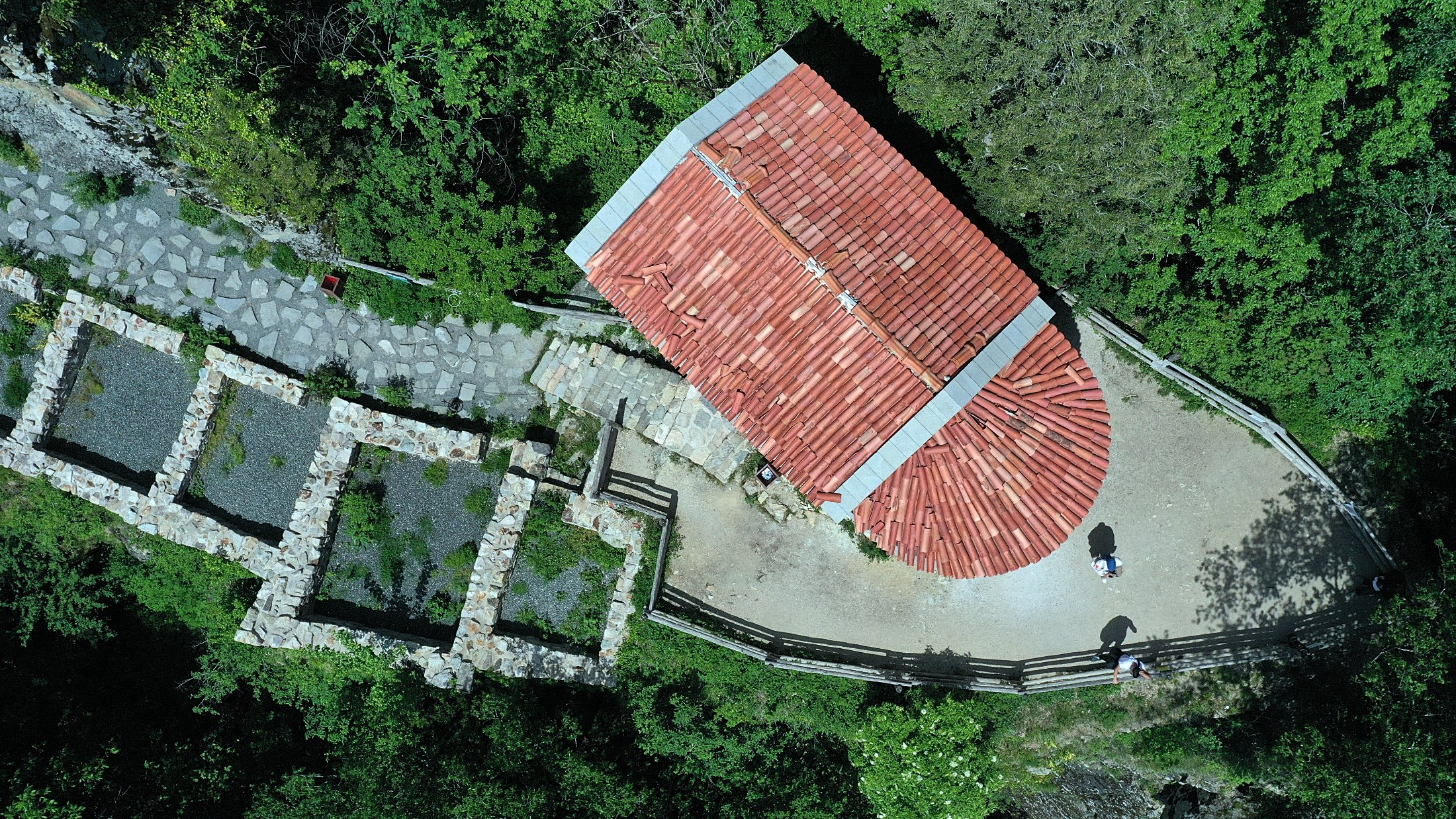 An aerial view of the Hagia Varvara Church at the Sümela Monastery in Trabzon, Turkey, May 30, 2021. (AA Photo)