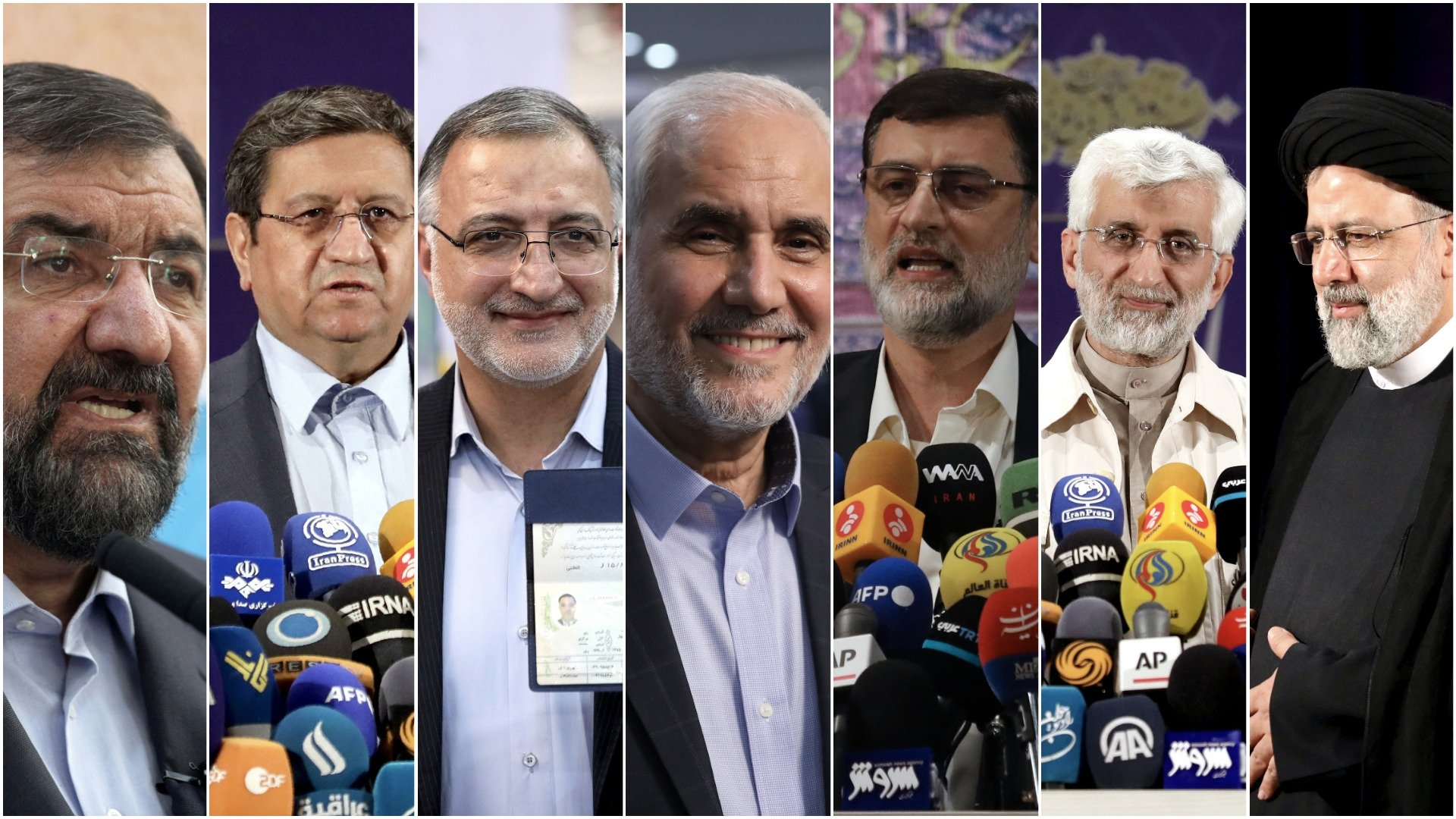 (L to R) Mohsen Rezaei, a former commander of the Revolutionary Guard; Abdolnasser Hemmati, head of the central bank of Iran; Alireza Zakani, a former lawmaker; Mohsen Mehralizadeh, a former provincial governor; Amir Hossein Ghazizadeh Hashemi, deputy Parliament Speaker; Saeed Jalili, former top nuclear negotiator, and Ebrahim Raisi, head of the Judiciary – in this combination of seven photos of approved candidates for the Iranian presidential elections to be held June 18, 2021. (AP Photo)