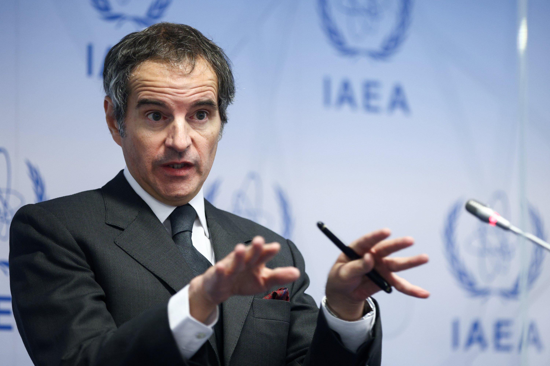 International Atomic Energy Agency (IAEA) Director-General Rafael Grossi addresses the media at the IAEA headquarters, amid the coronavirus disease (COVID-19) pandemic, in Vienna, Austria, May 24, 2021. (REUTERS)